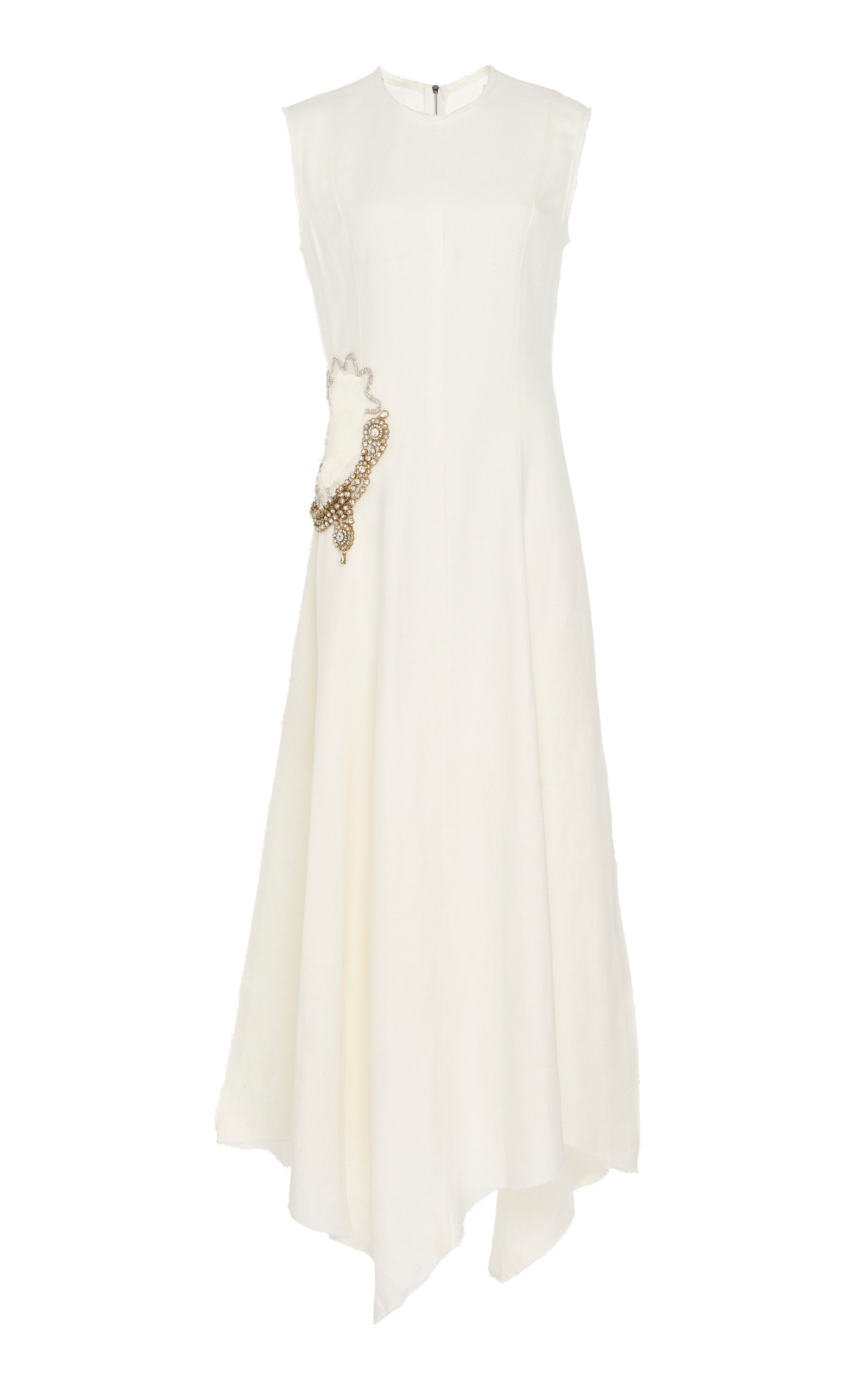 Buy JW Anderson Embellished Cutout Linen Dress online, shop JW Anderson at the best price
