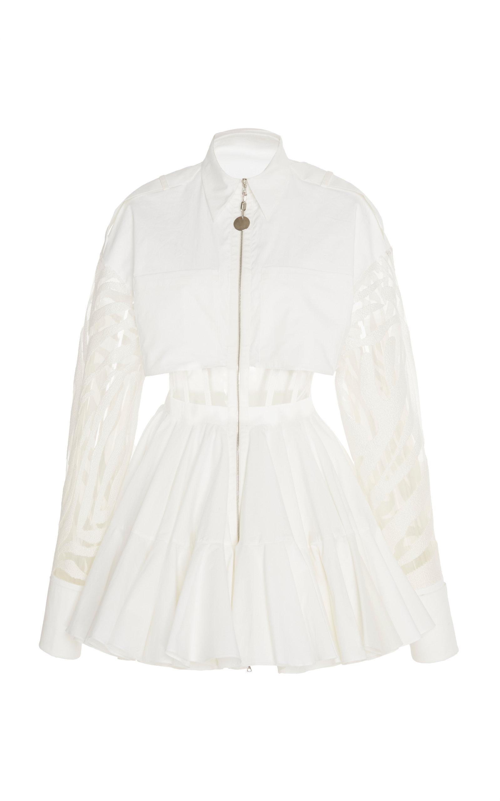 Buy David Koma Paneled Zip-Detailed Cotton-Blend Mini Dress online, shop David Koma at the best price