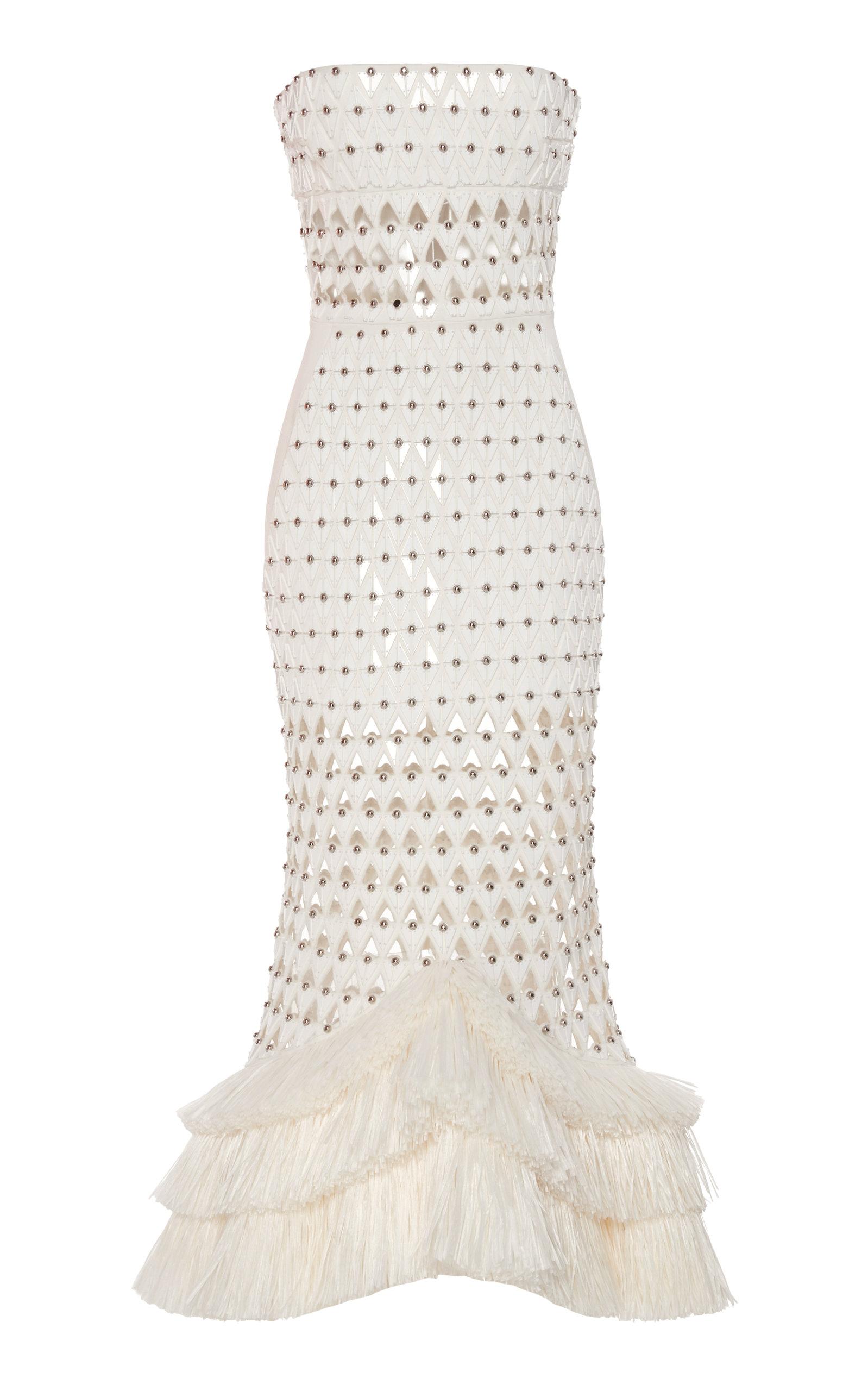 Buy David Koma Strapless Fringe-Trimmed Crepe Dress online, shop David Koma at the best price