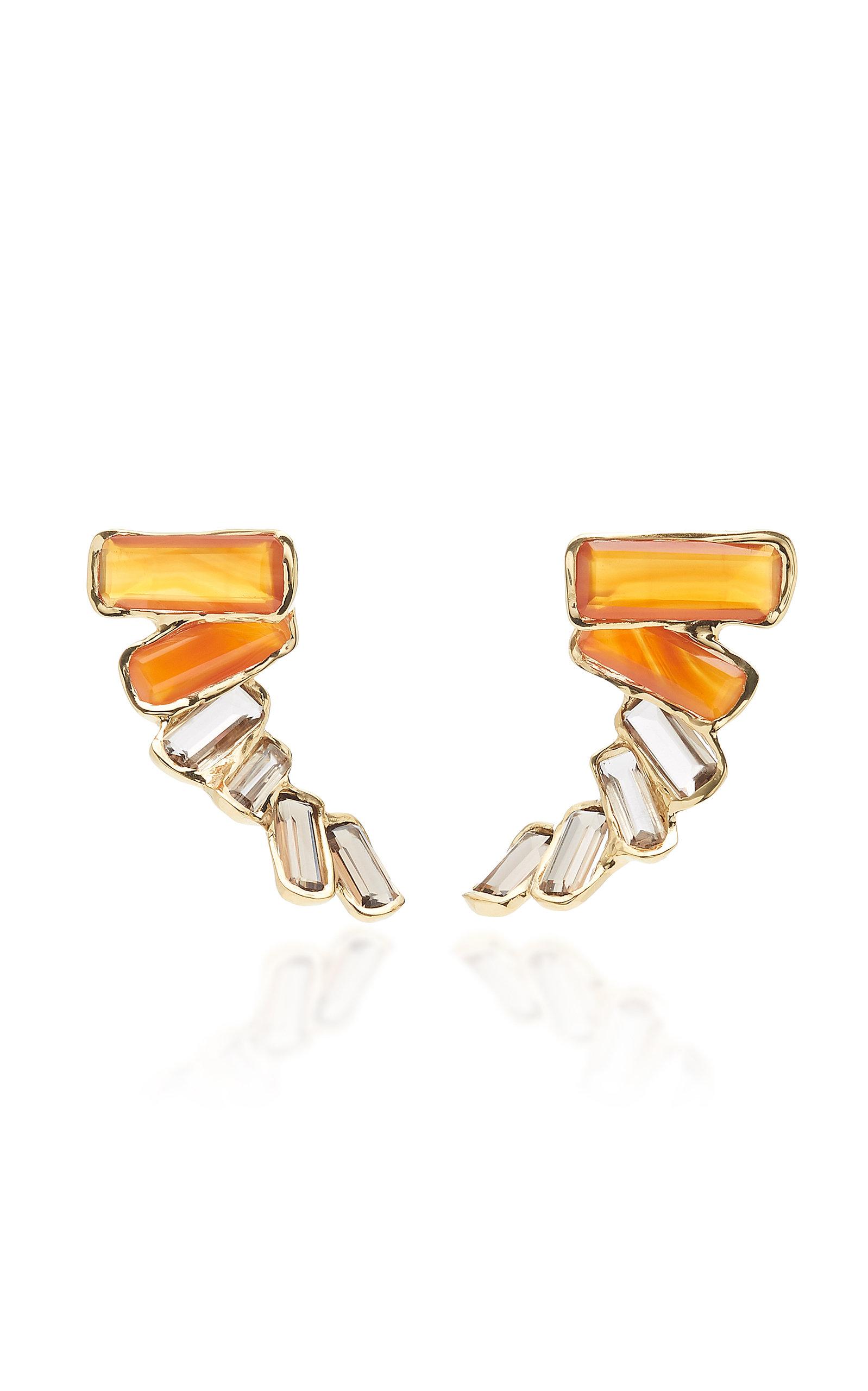 Women's Kaxinawa 18K Gold; Carnelian And Quartz Earrings