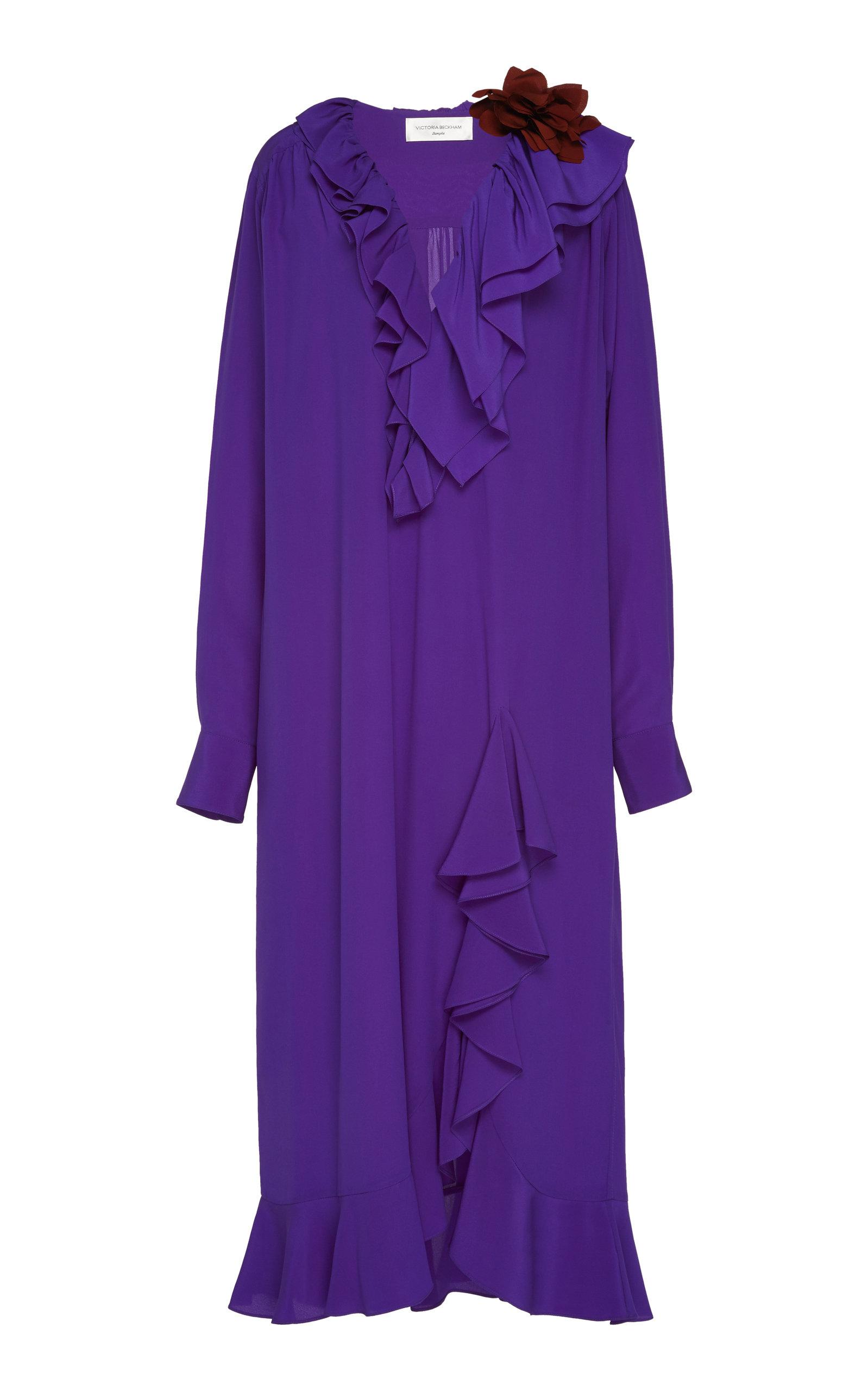 Buy Victoria Beckham Ruffled Silk Shirt Dress online, shop Victoria Beckham at the best price