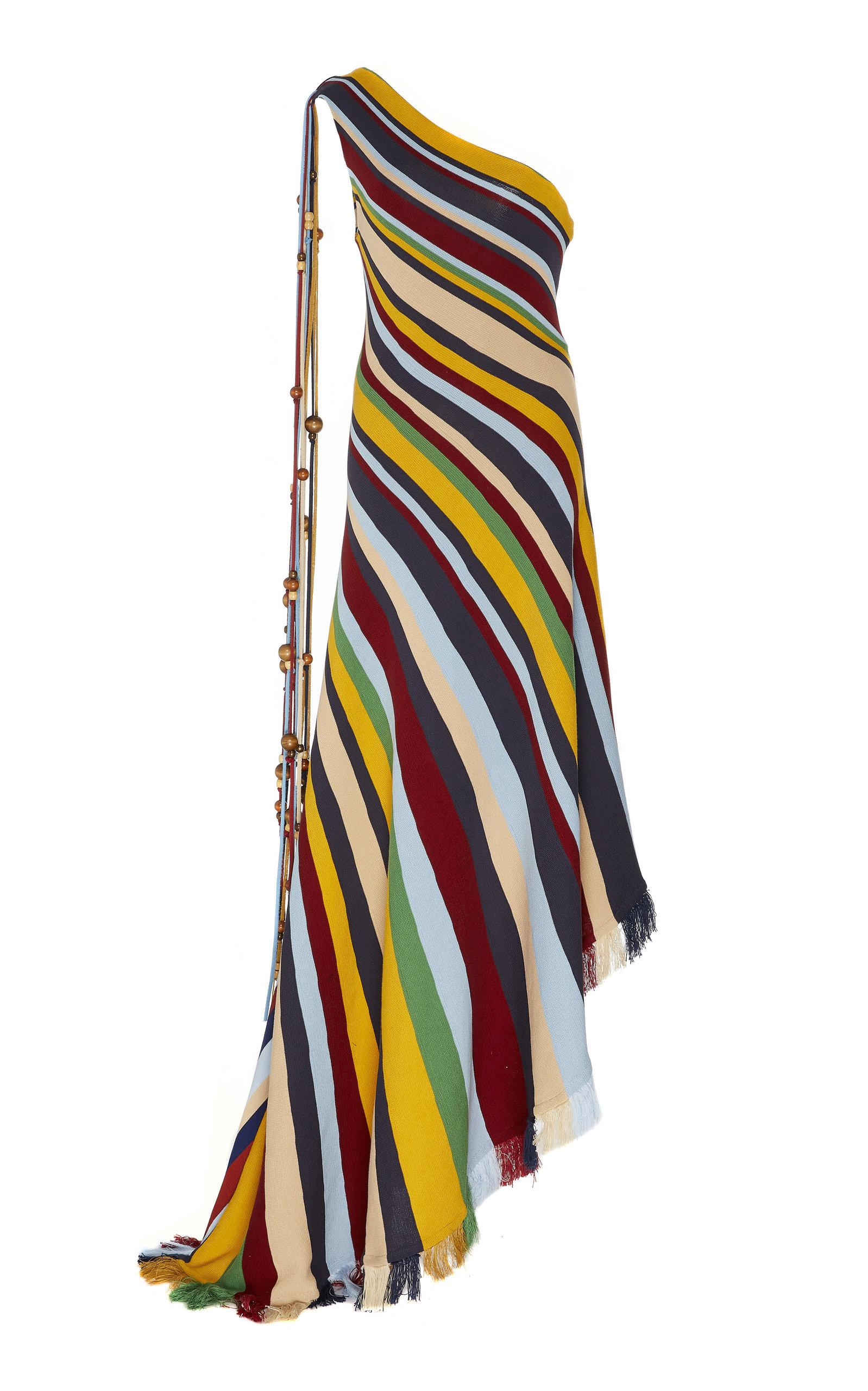 Buy Oscar de la Renta Asymmetric Striped Cotton Dress online, shop Oscar de la Renta at the best price