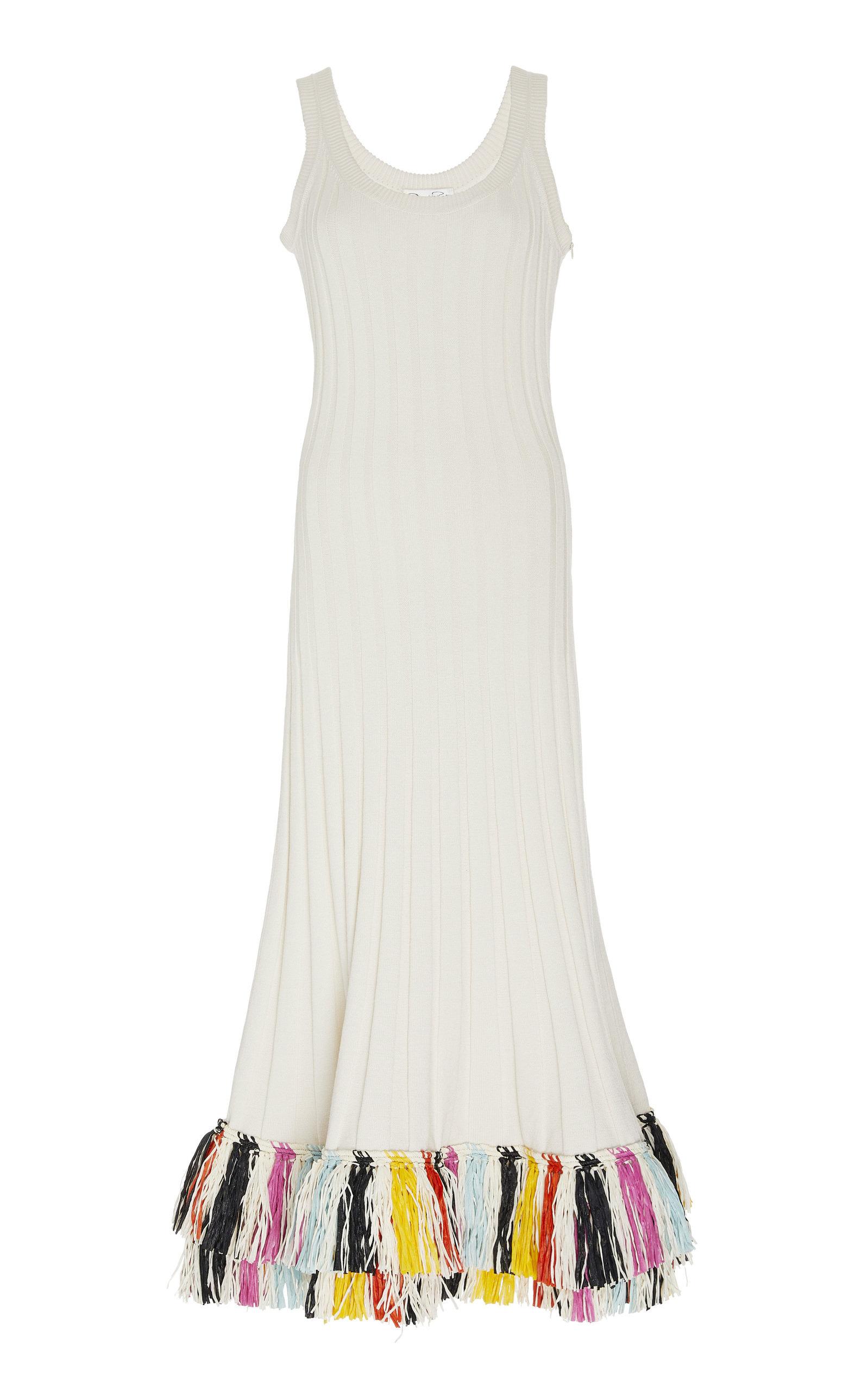 Buy Oscar de la Renta Fringed Silk-Blend Dress online, shop Oscar de la Renta at the best price