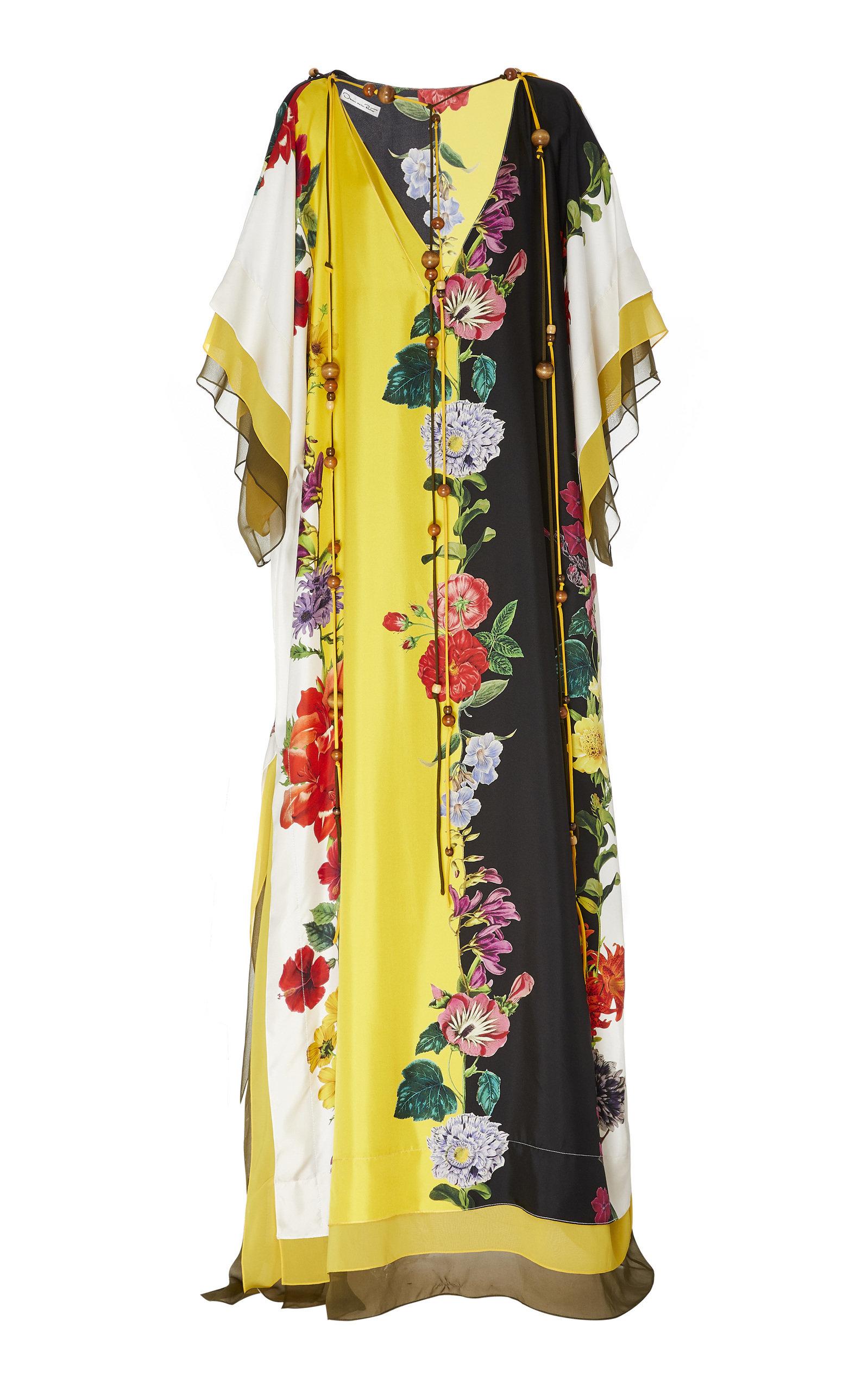 Buy Oscar de la Renta Floral-Print Silk Caftan online, shop Oscar de la Renta at the best price