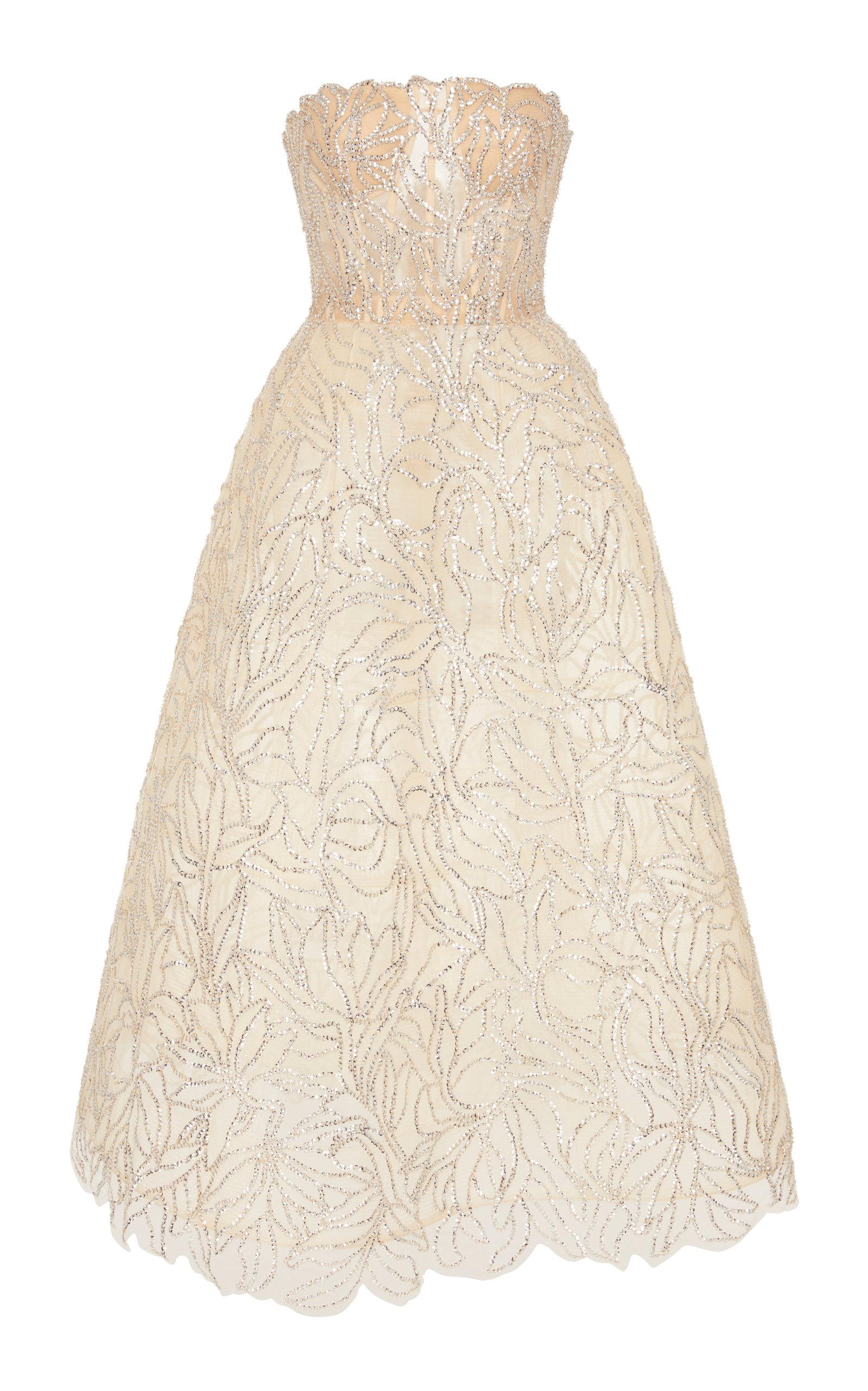 Buy Oscar de la Renta Crystal-Embellished Tulle Strapless Dress online, shop Oscar de la Renta at the best price