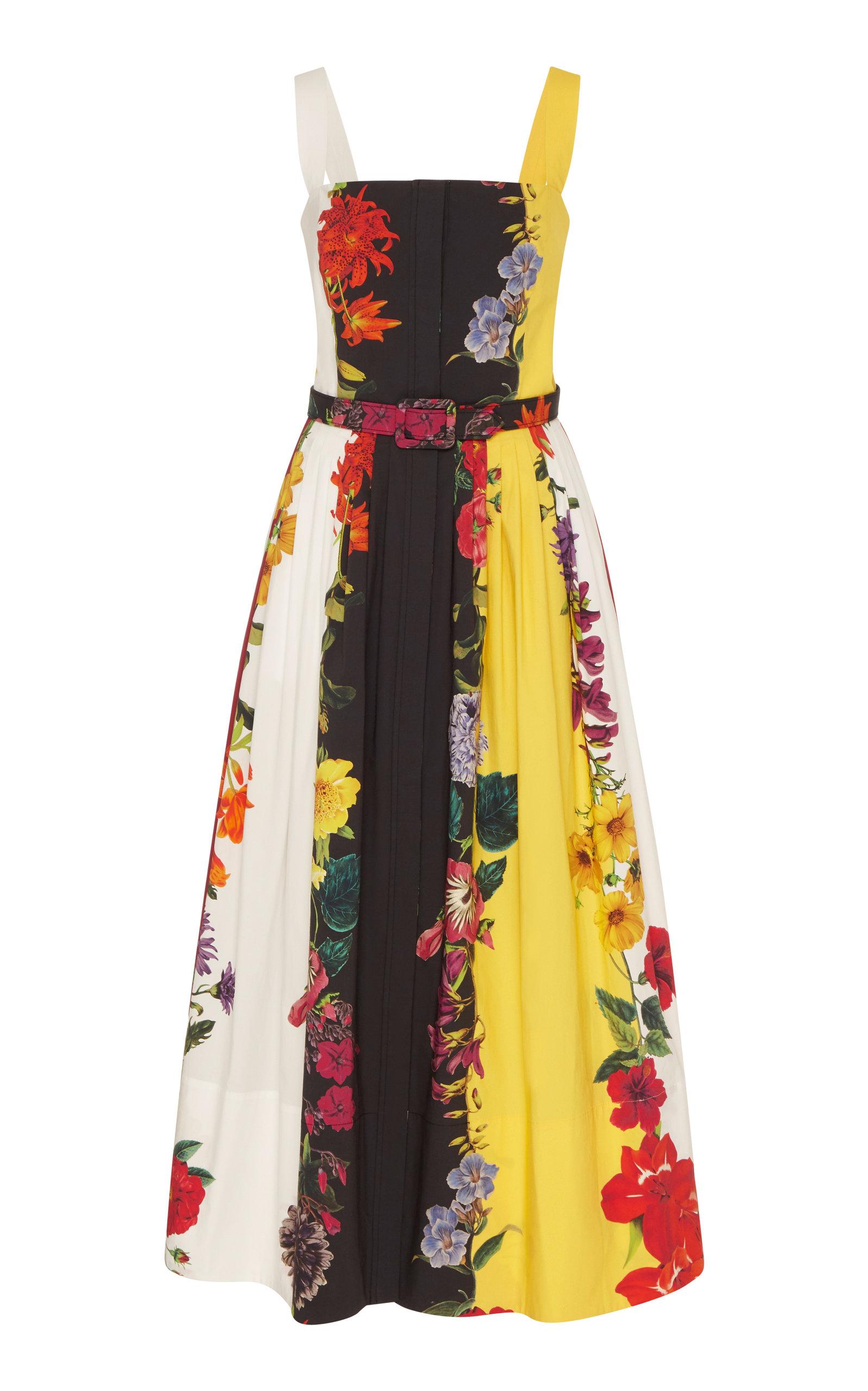 Buy Oscar de la Renta Pleated Stretch-Cotton Dress online, shop Oscar de la Renta at the best price