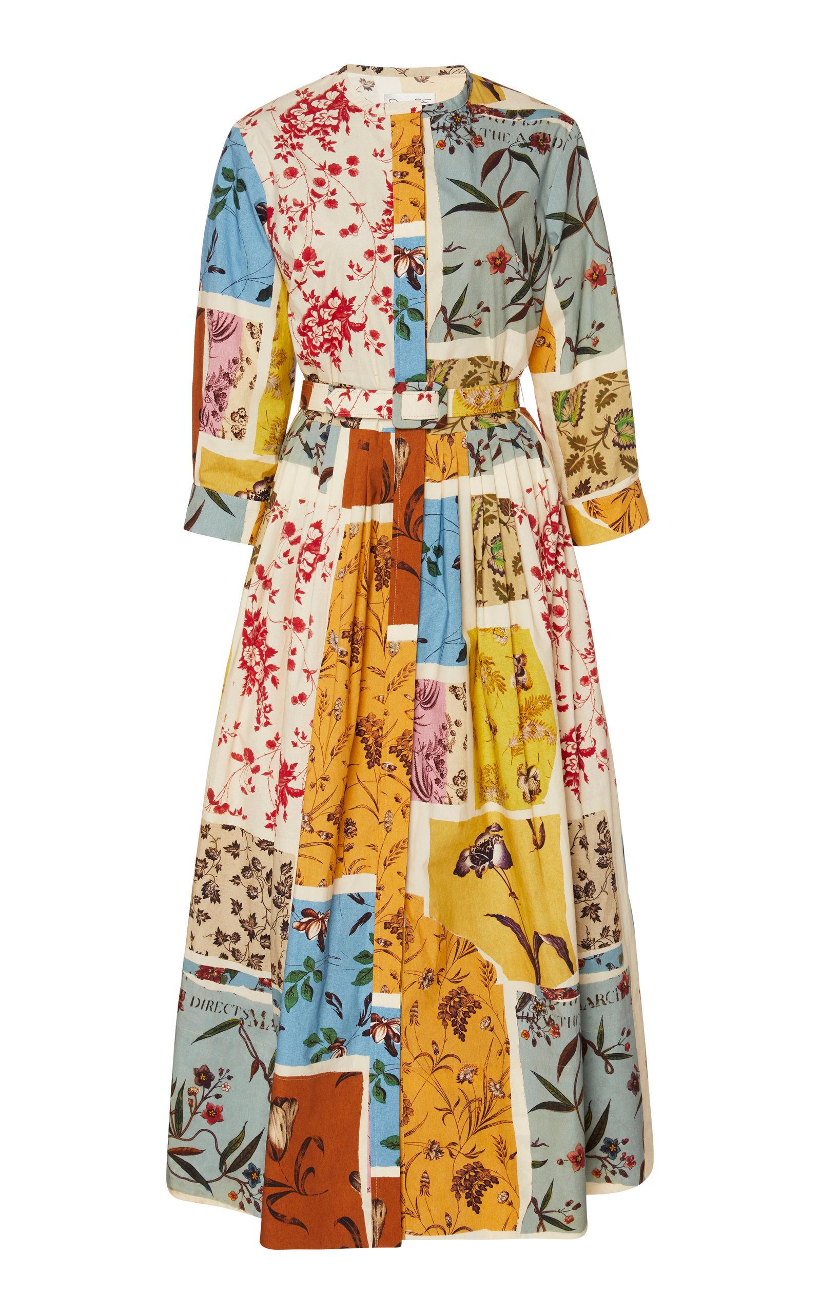 Buy Oscar de la Renta Belted Floral Cotton Poplin Shirt Dress online, shop Oscar de la Renta at the best price