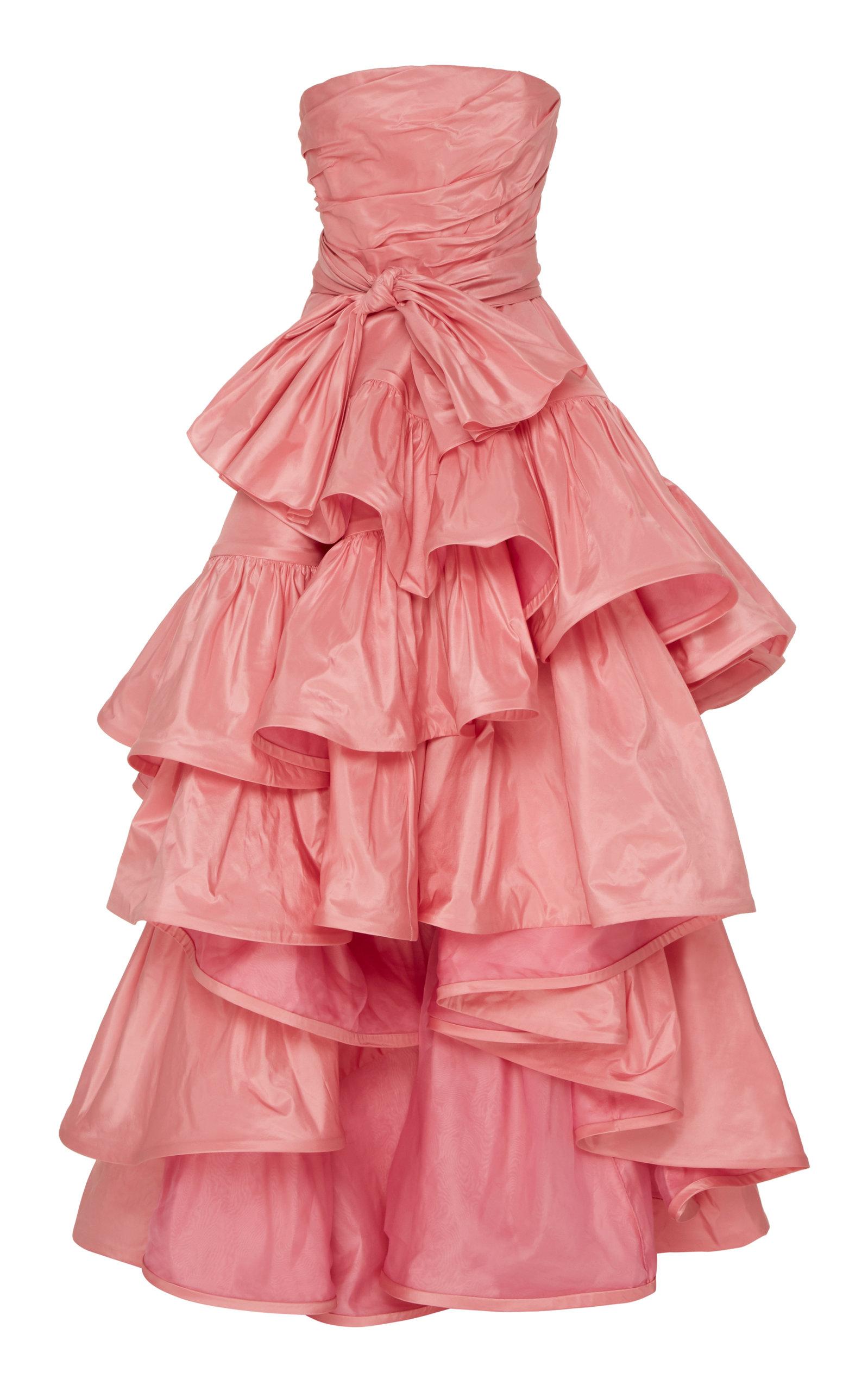 Buy Oscar de la Renta Ruffled Silk Gown online, shop Oscar de la Renta at the best price