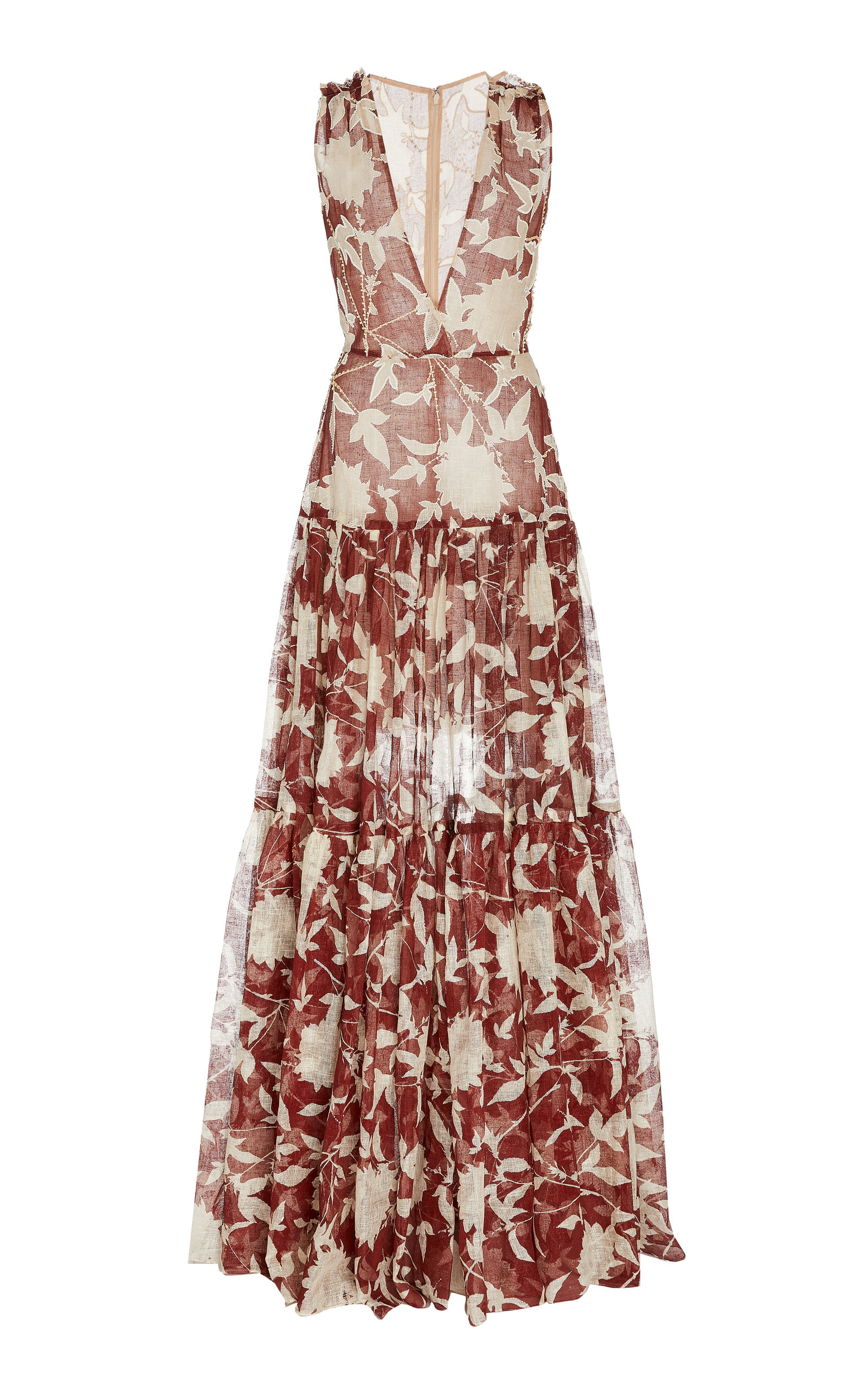 Buy Oscar de la Renta Floral-Printed Silk Maxi Dress online, shop Oscar de la Renta at the best price