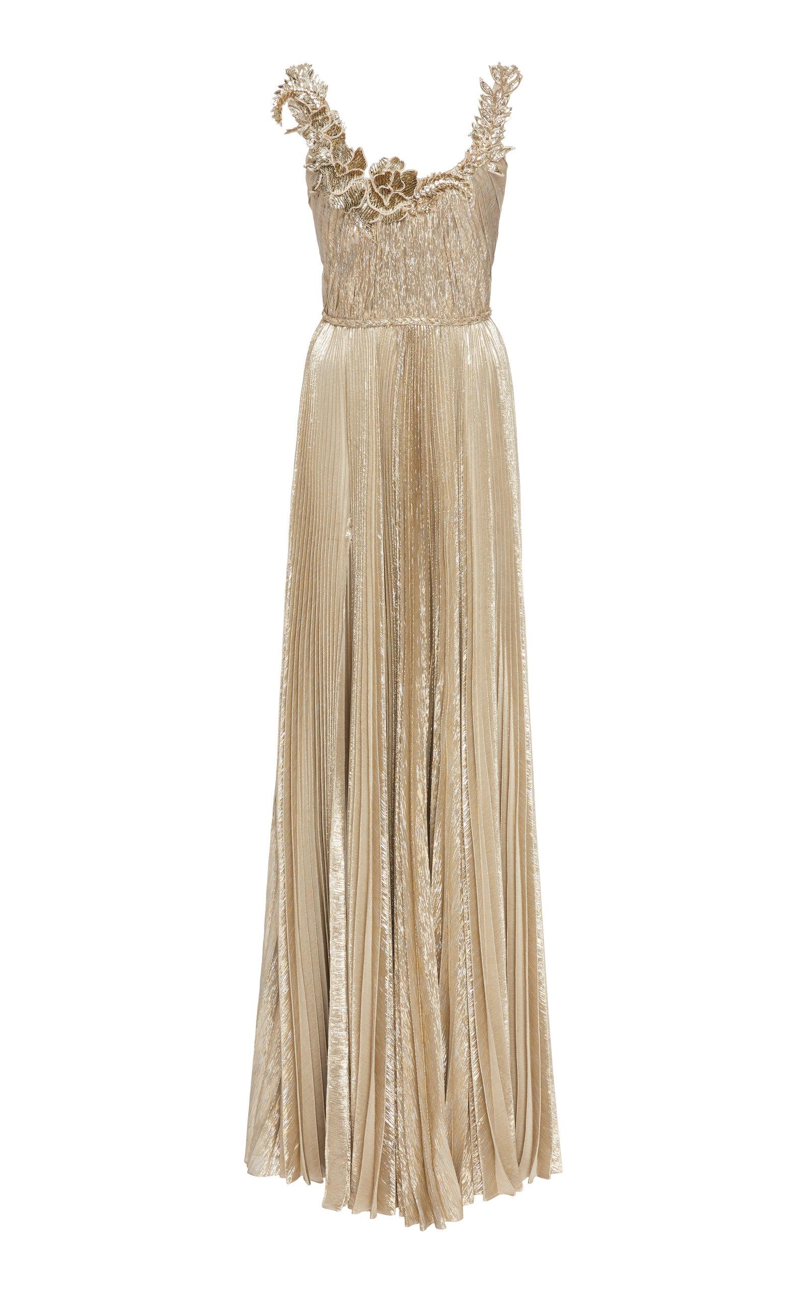 Buy Oscar de la Renta Embellished Metallic Plissé Gown online, shop Oscar de la Renta at the best price