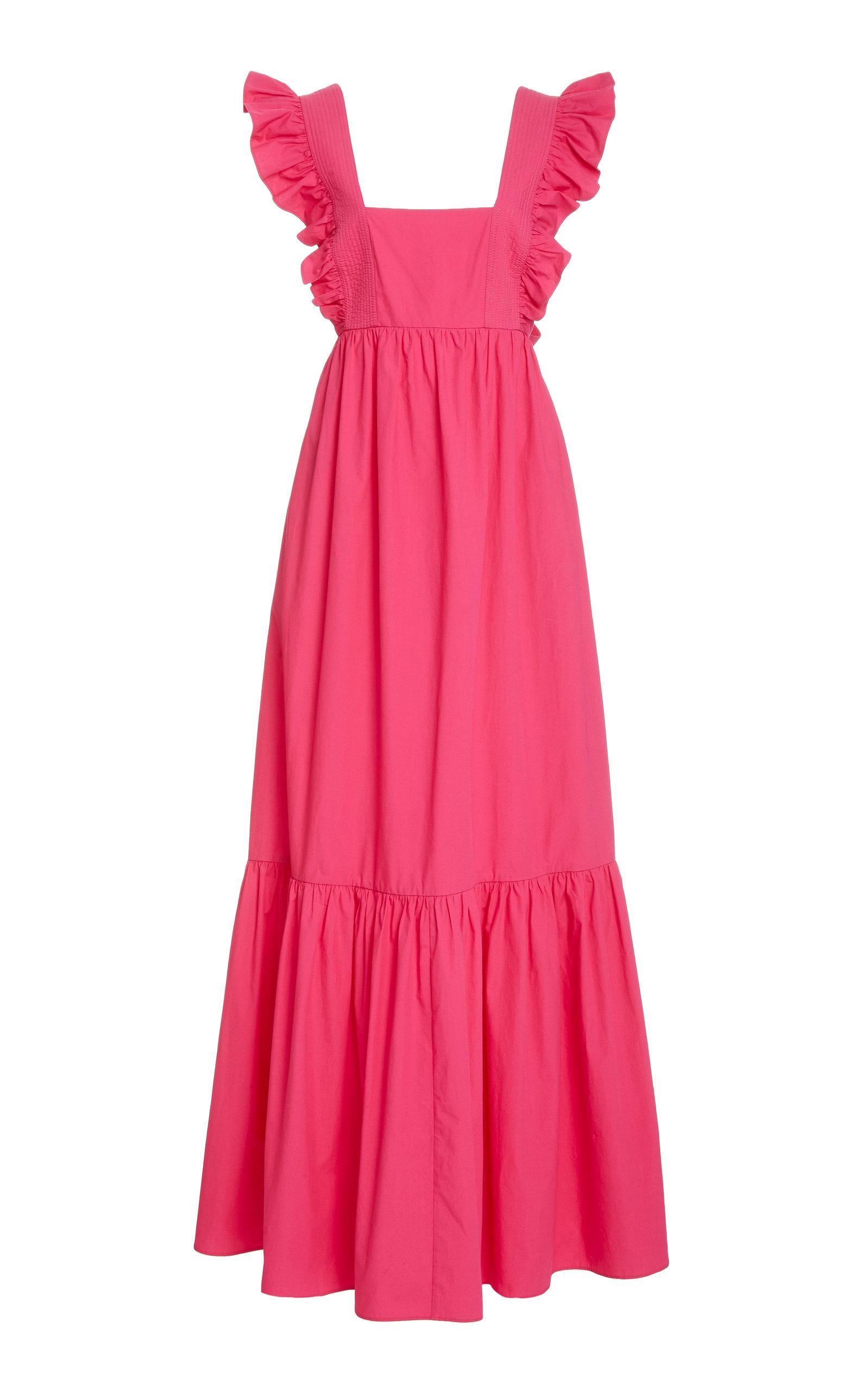 Buy Self Portrait Ruffled Cotton Maxi Dress online, shop Self Portrait at the best price