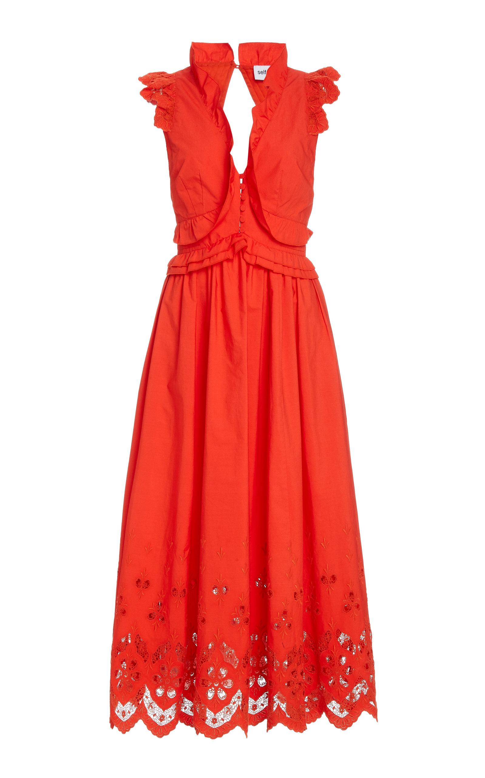 Buy Self Portrait Ruffled Cotton Midi Dress online, shop Self Portrait at the best price