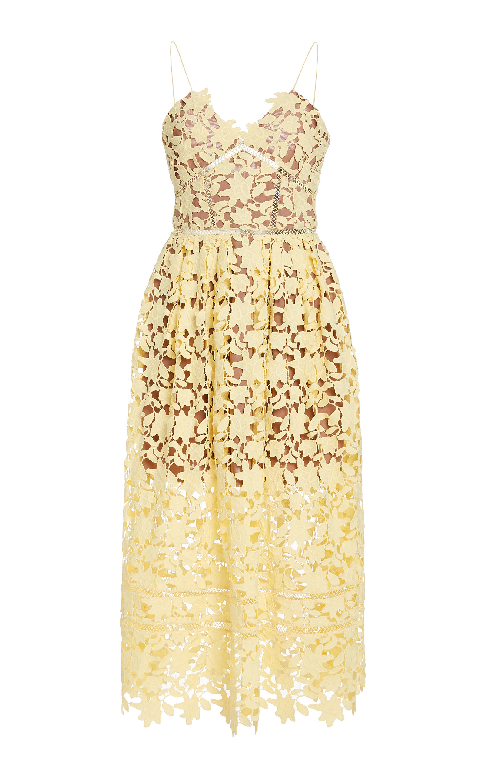Buy Self Portrait Sleeveless Guipure Lace Dress online, shop Self Portrait at the best price