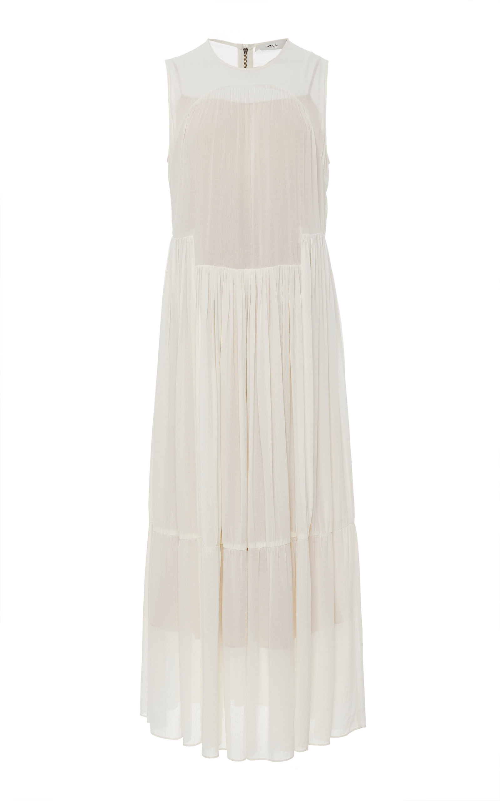 Buy Vince Pleated Chiffon Maxi Dress online, shop Vince at the best price