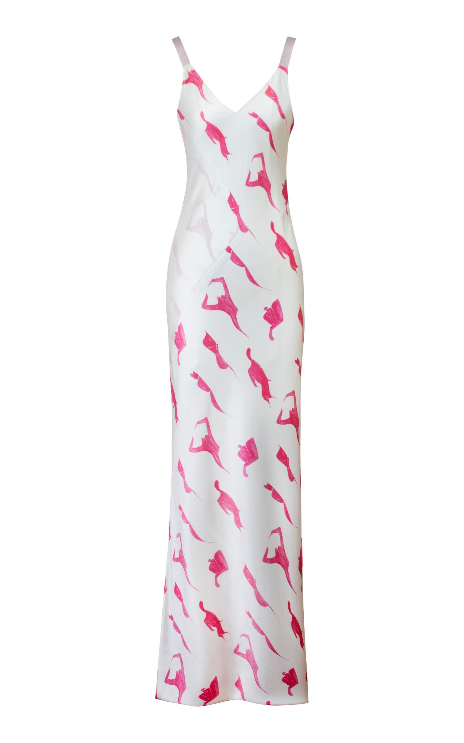 Buy Alejandra Alonso Rojas Printed Silk-Satin Dress online, shop Alejandra Alonso Rojas at the best price