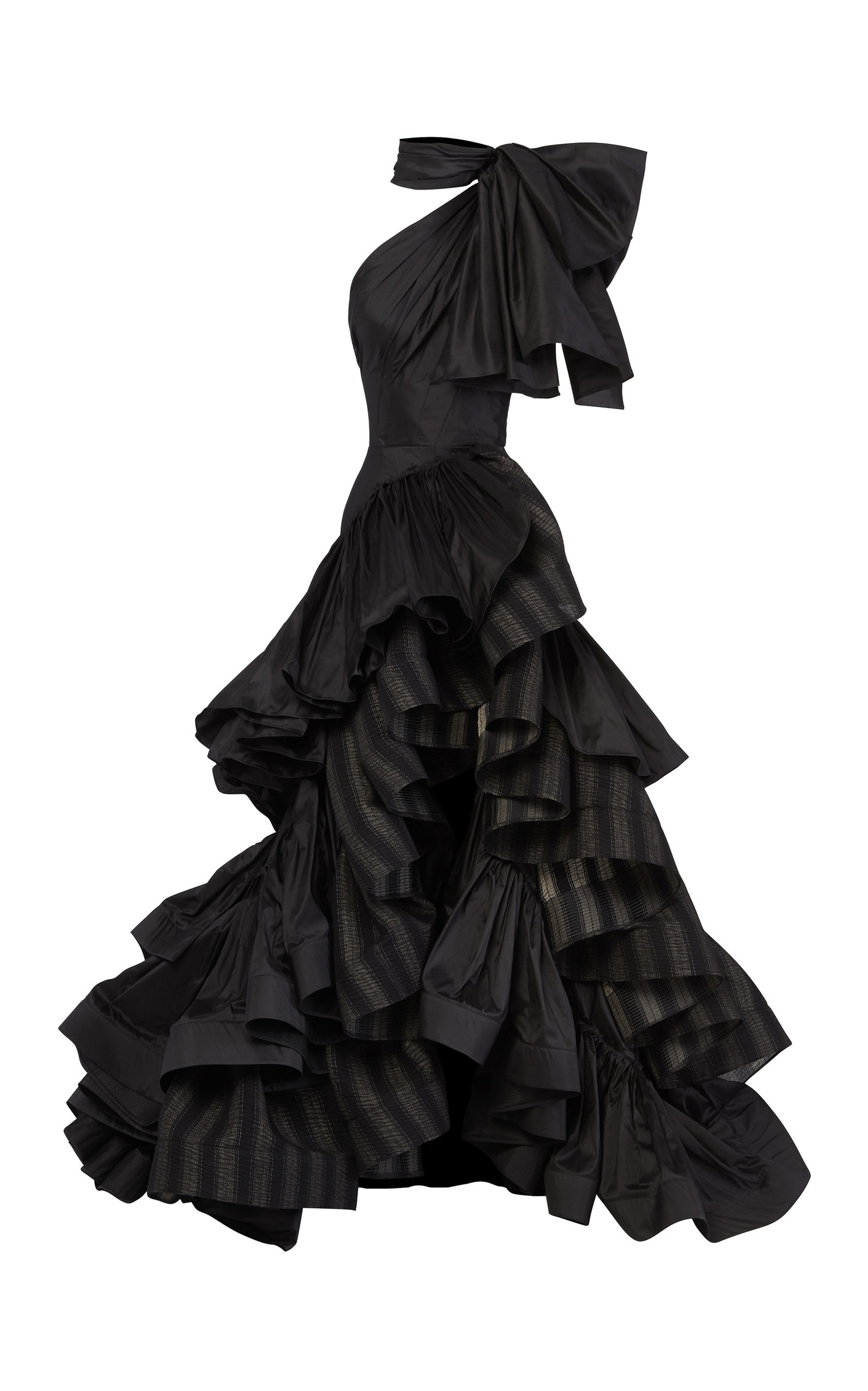 Buy Maticevski Professed Bow-Embellished Ruffled Striped Linen Gown online, shop Maticevski at the best price