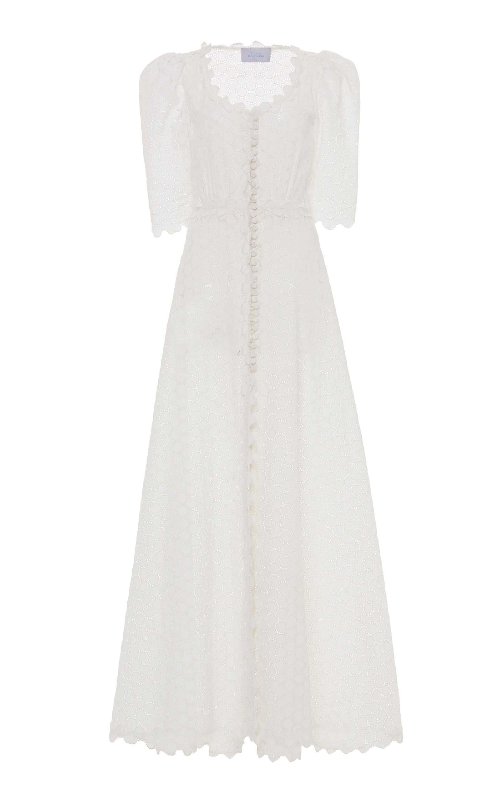 Buy Luisa Beccaria Broderie Anglaise Linen Maxi Dress online, shop Luisa Beccaria at the best price