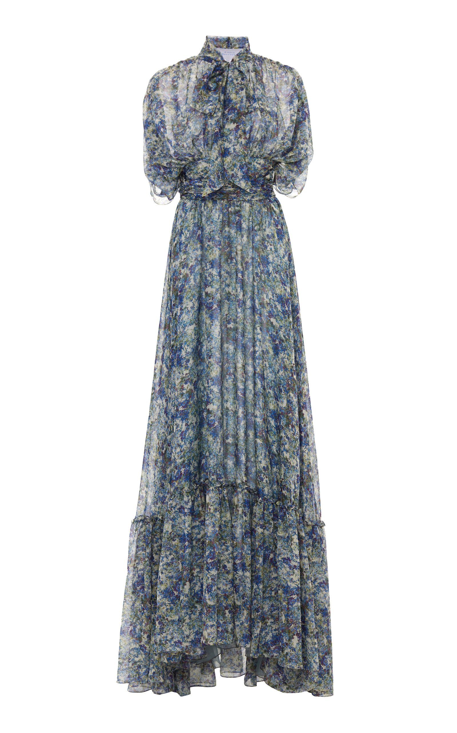 Buy Luisa Beccaria Pussy-Bow Floral-Print Silk-Chiffon Maxi Dress online, shop Luisa Beccaria at the best price