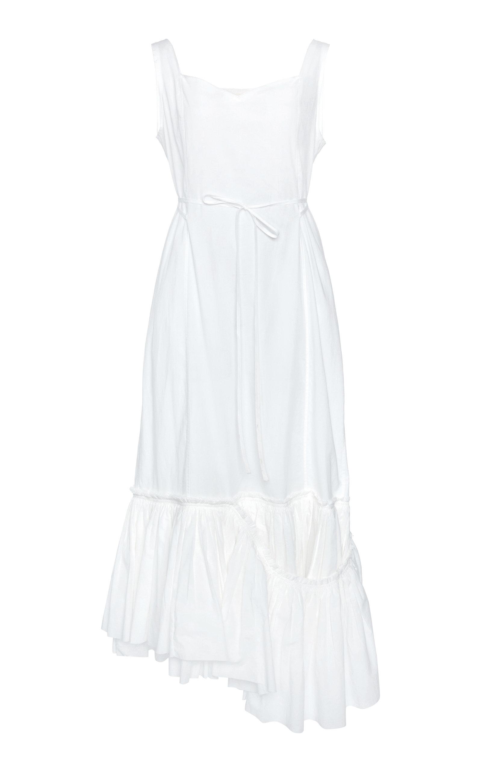 Buy Marni Asymmetric Ruffled Cotton Midi Dress online, shop Marni at the best price