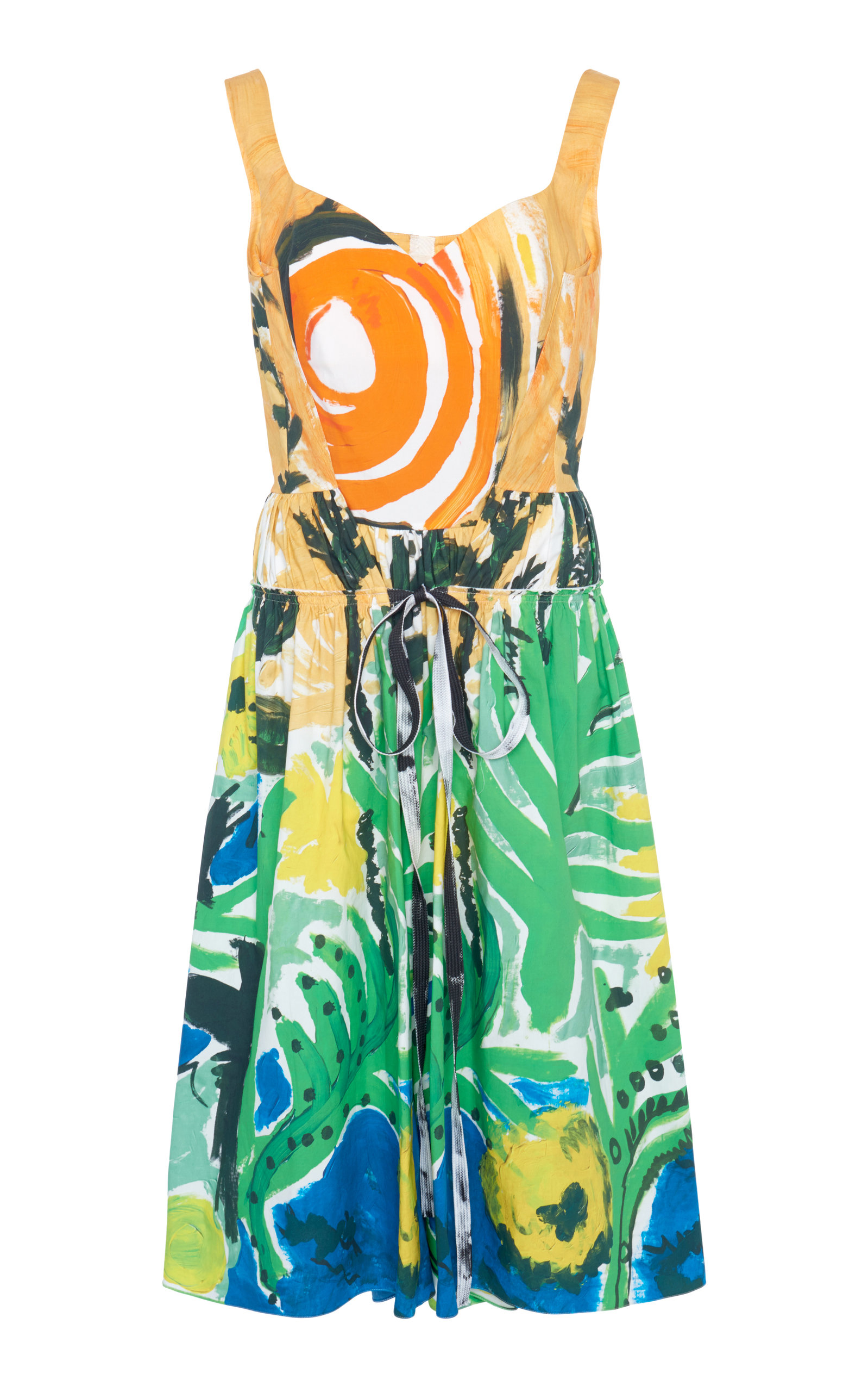 Buy Marni Printed Cotton Tie-Front Midi Dress online, shop Marni at the best price
