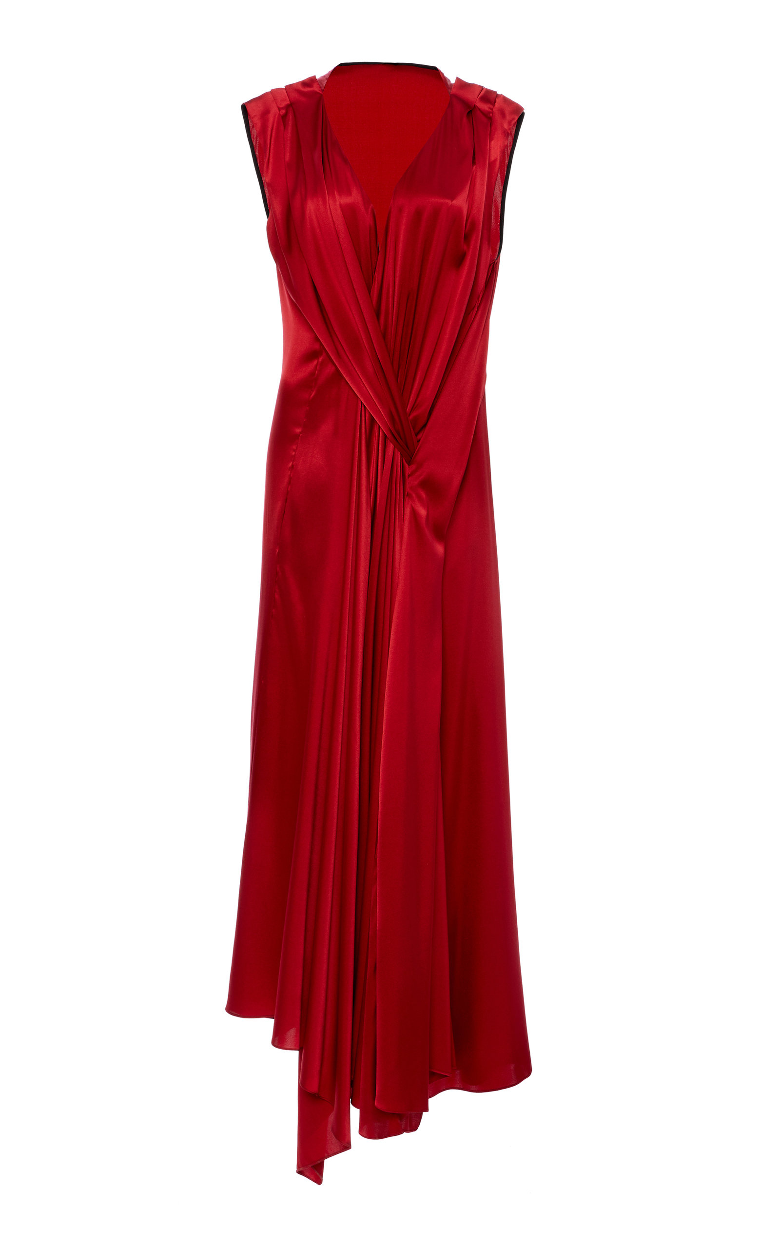 Buy Petar Petrov Aria Asymmetric Draped Silk-Satin Midi Dress online, shop Petar Petrov at the best price