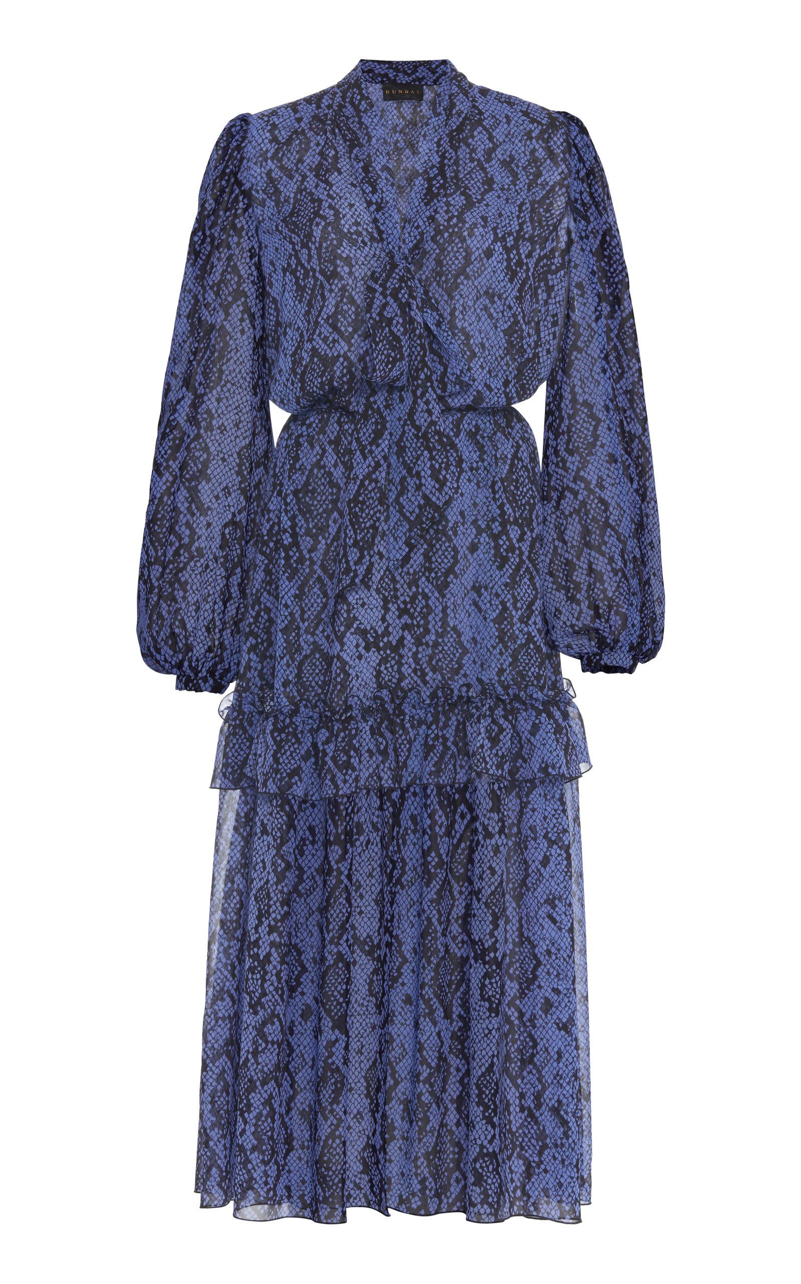 Buy Dundas Python-Print Silk Ruffled Midi Dress online, shop Dundas at the best price