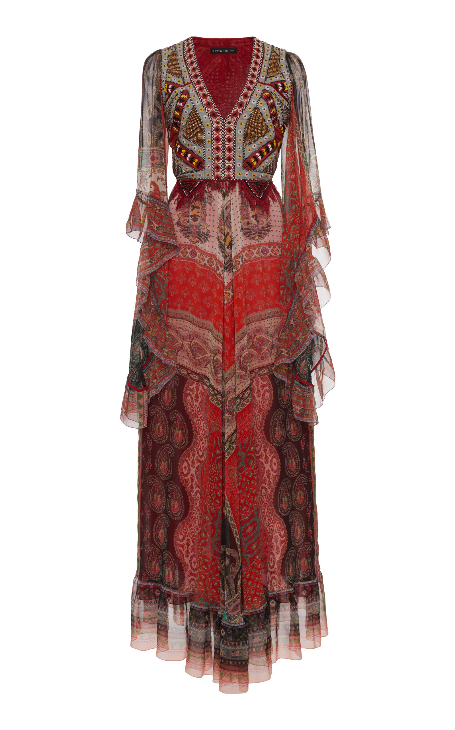 Buy Etro Embroidered Printed Silk-Chiffon Maxi Dress online, shop Etro at the best price