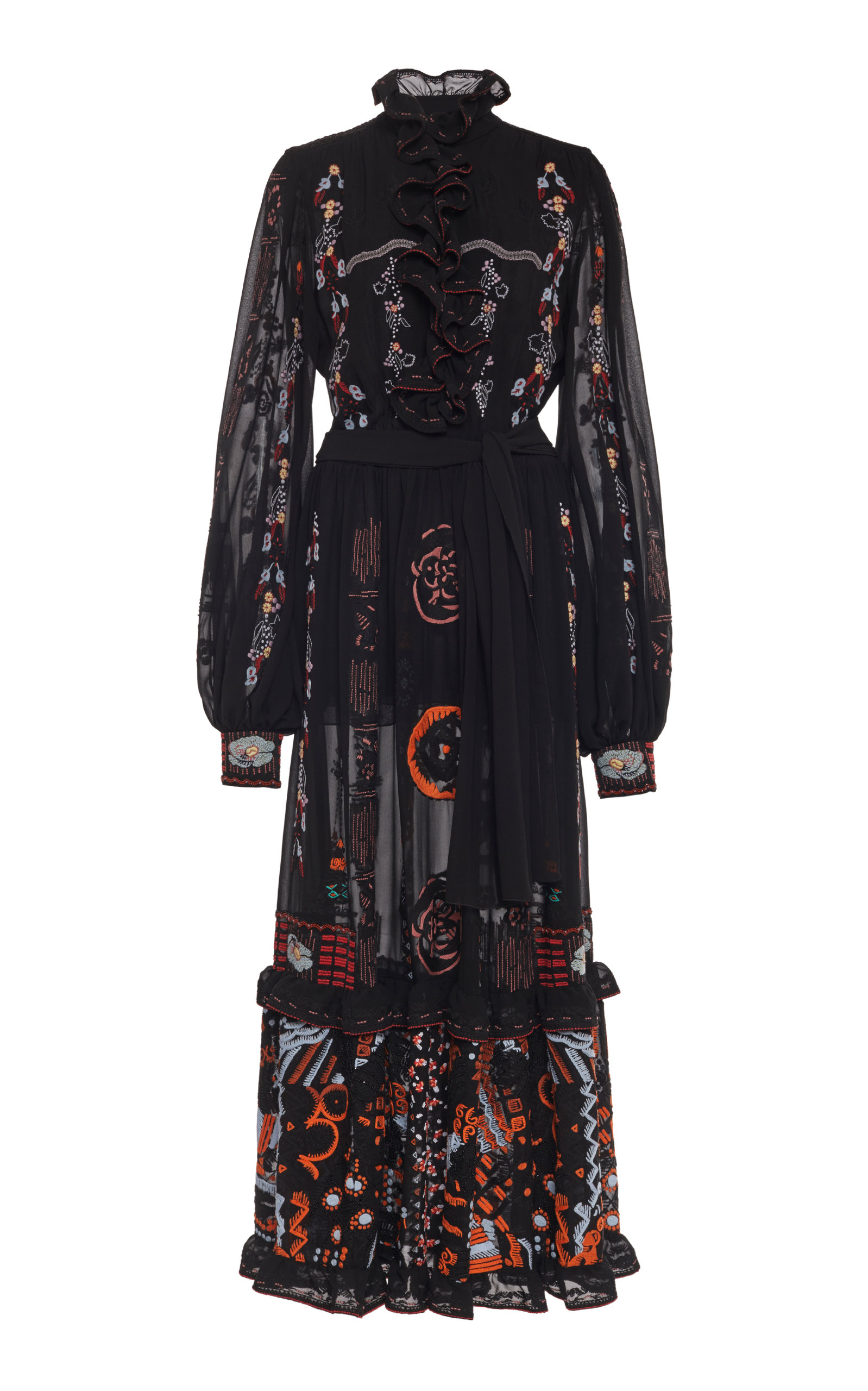 Buy Etro Embroidered Ruffled Silk-Chiffon Maxi Dress online, shop Etro at the best price