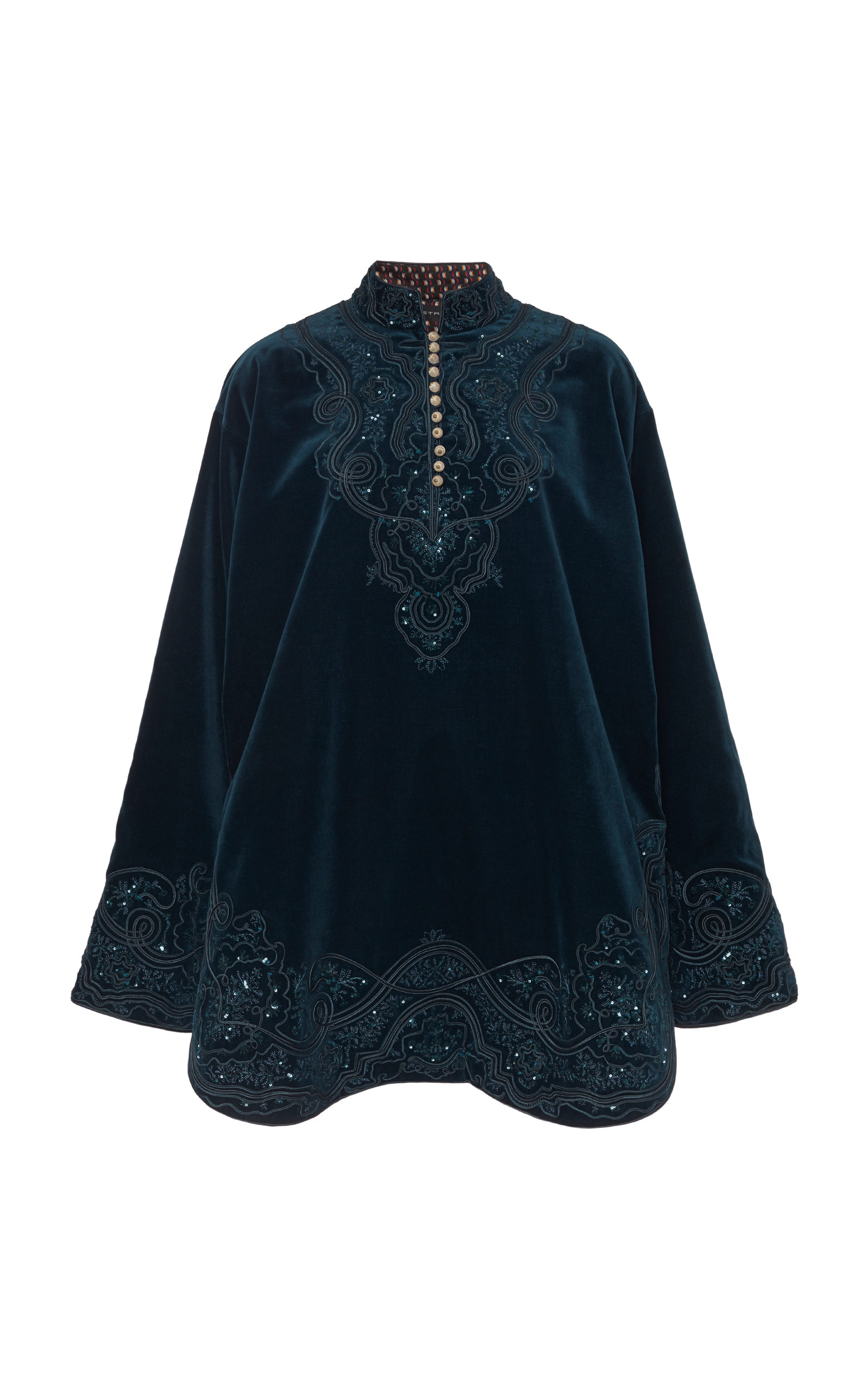 Buy Etro Button-Embellished Embroidered Velvet Mini Dress online, shop Etro at the best price