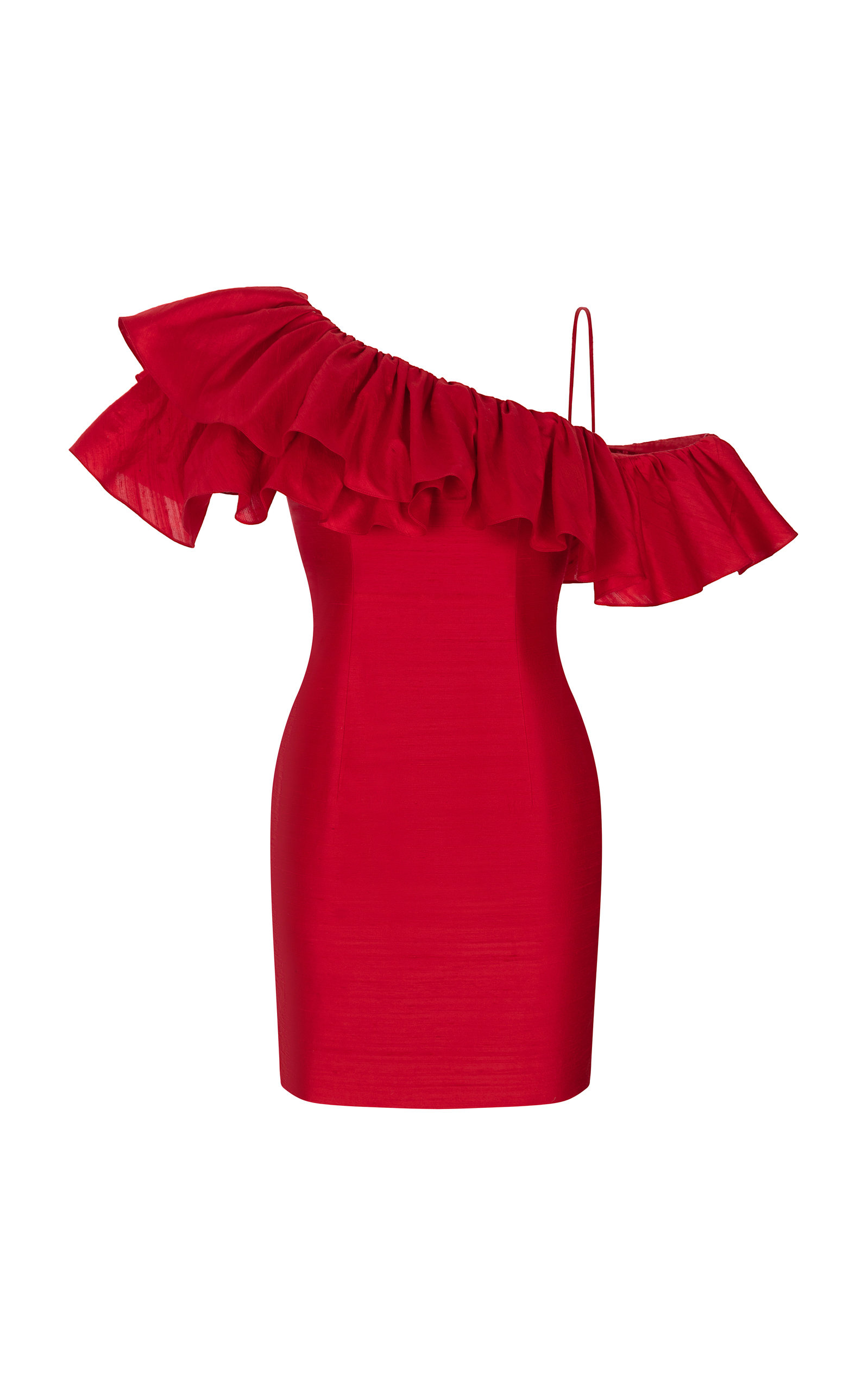 Buy Rasario Ruffled One-Shoulder Silk Mini Dress online, shop Rasario at the best price