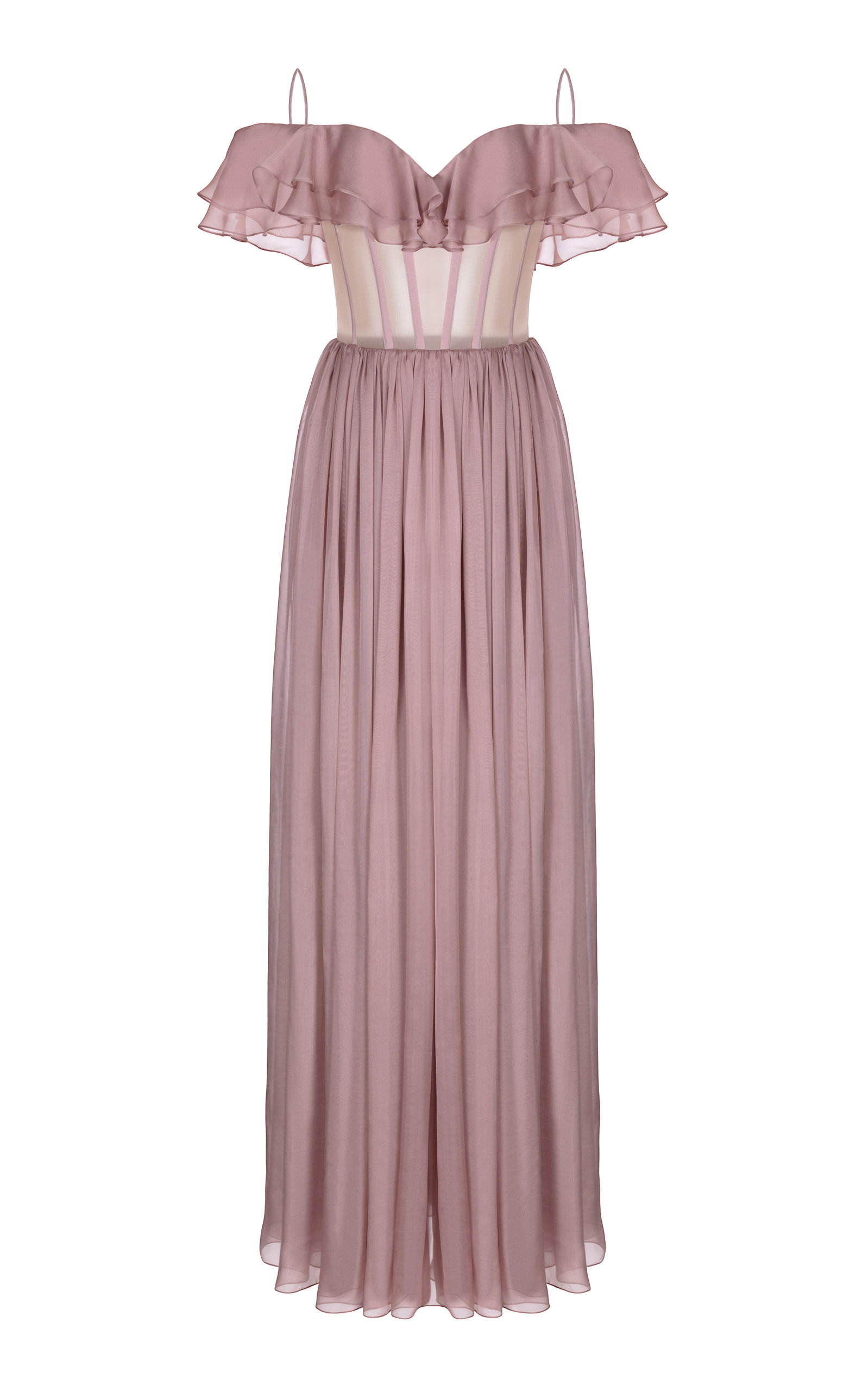 Buy Rasario Ruffled Cold-Shoulder Silk-Chiffon Bustier Gown online, shop Rasario at the best price