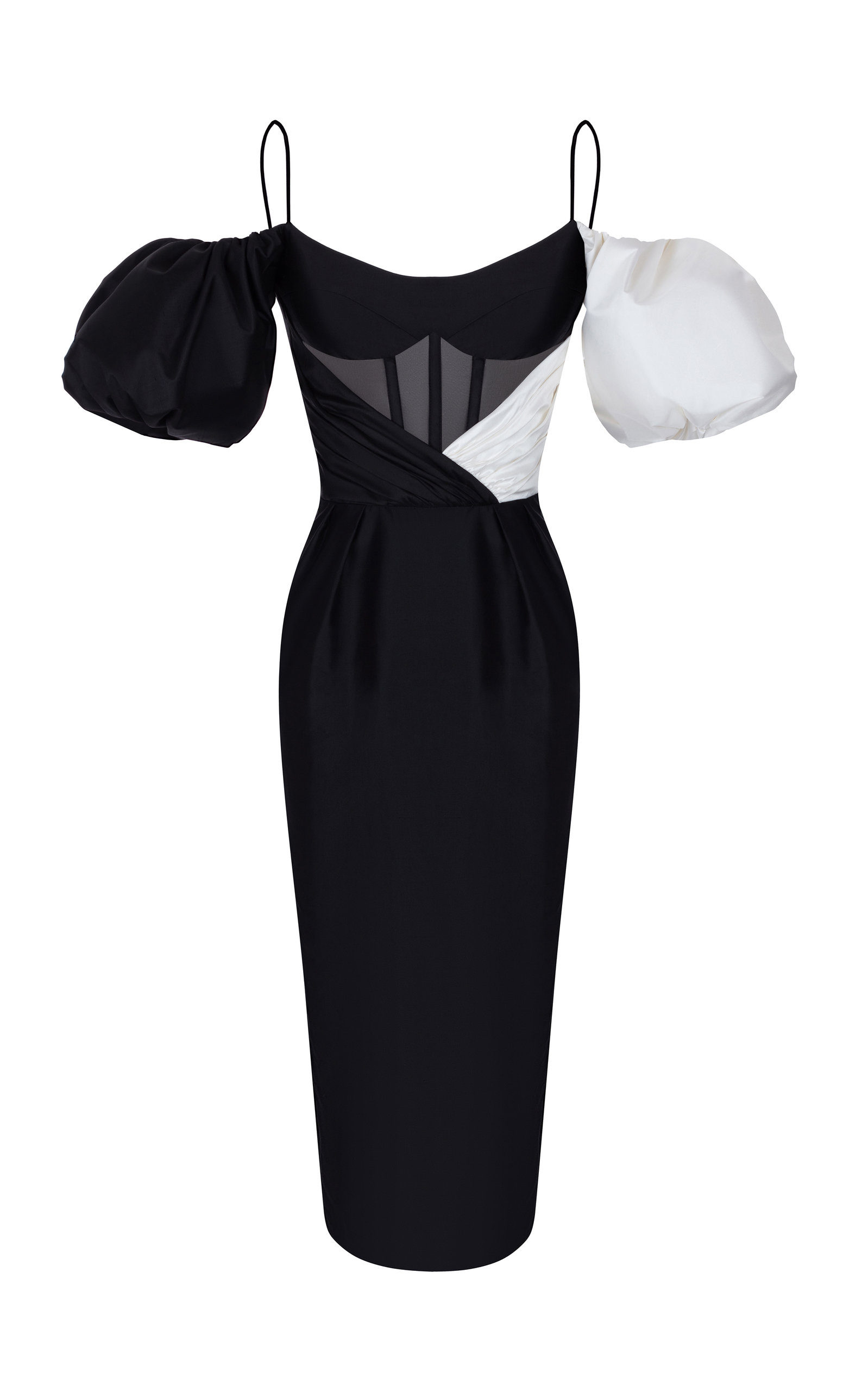Buy Rasario Cold-Shoulder Silk-Blend Midi Dress online, shop Rasario at the best price