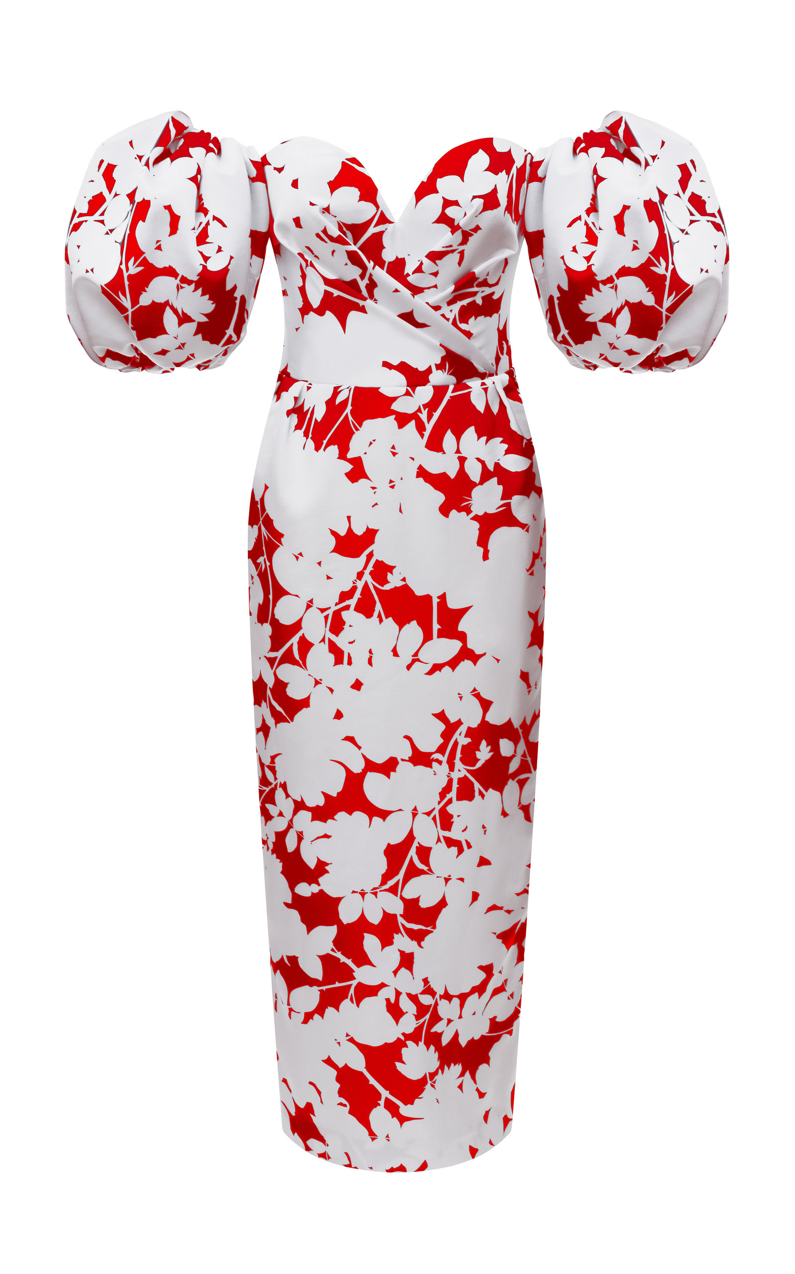Buy Rasario Floral-Print Satin Midi Dress online, shop Rasario at the best price
