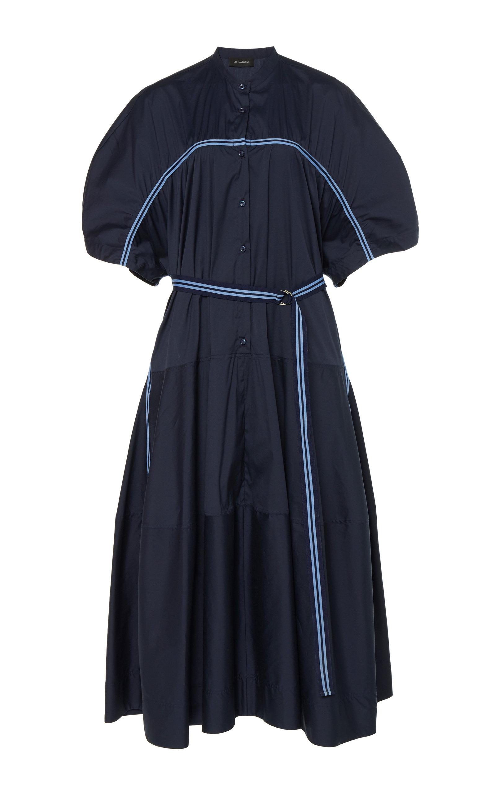 Buy LEE MATHEWS Alice Belted Cotton-Poplin Midi Dress online, shop LEE MATHEWS at the best price