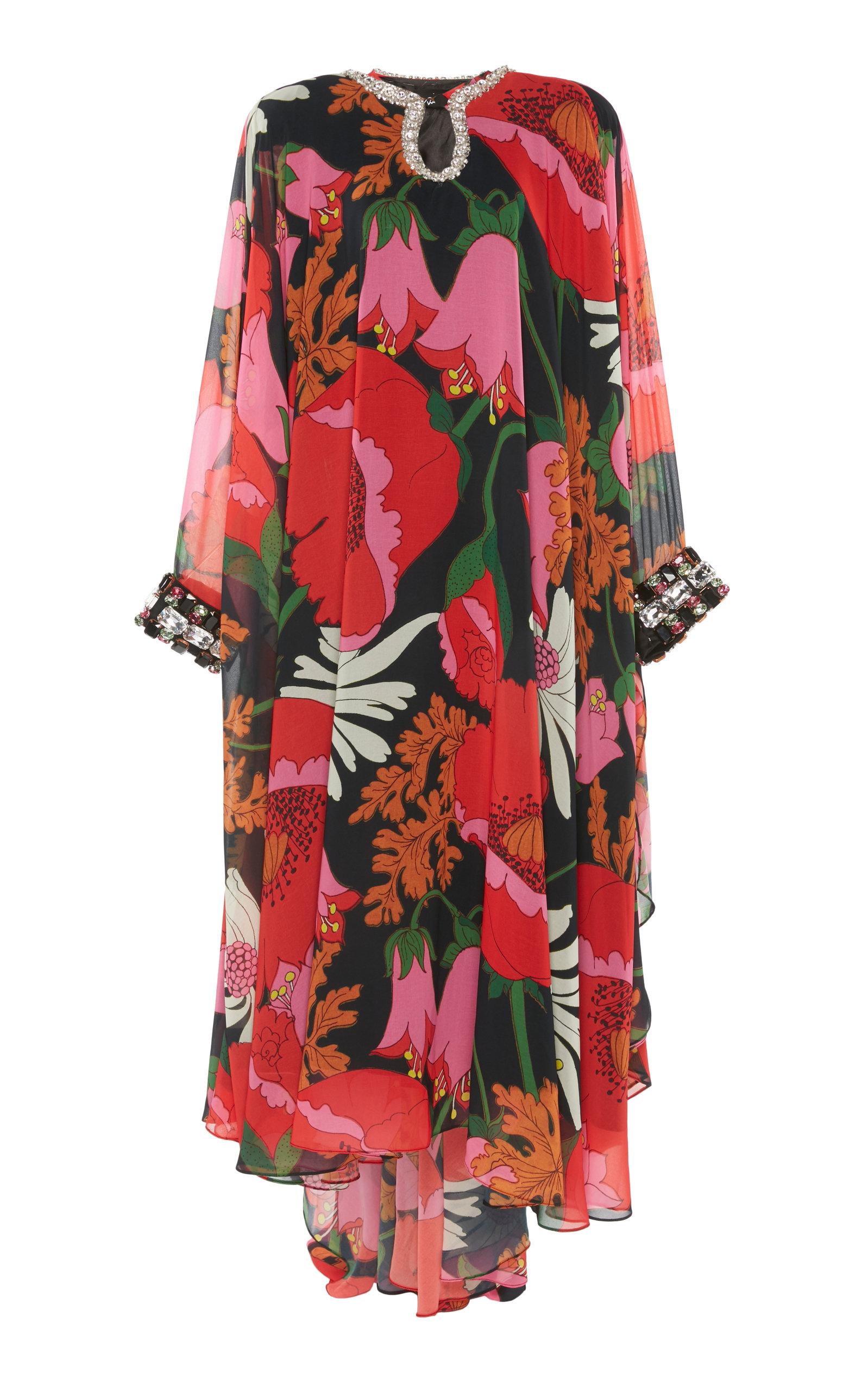 Buy Richard Quinn Floral-Print Embellished Chiffon Dress online, shop Richard Quinn at the best price