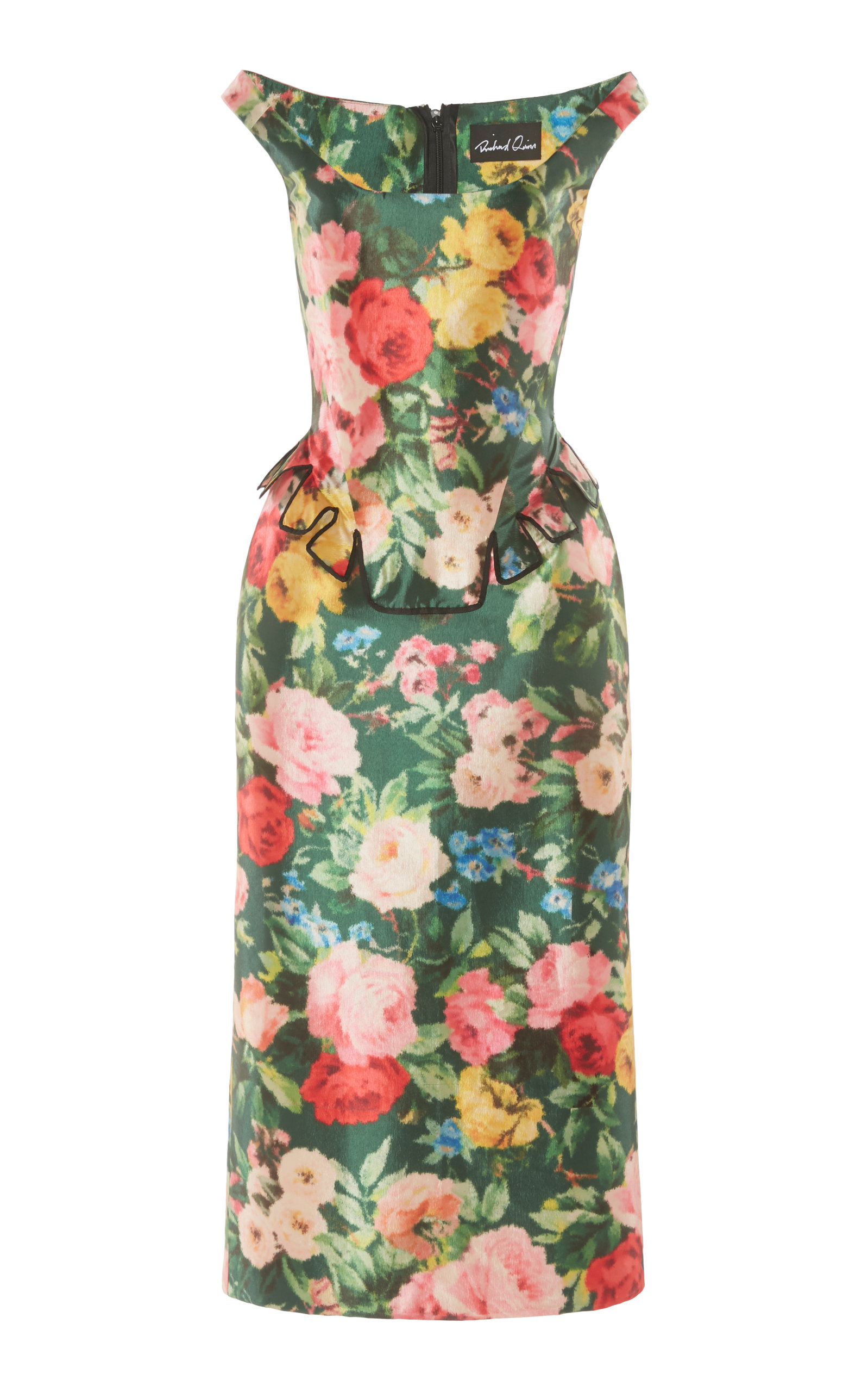 Buy Richard Quinn Floral-Print Satin Peplum Dress online, shop Richard Quinn at the best price