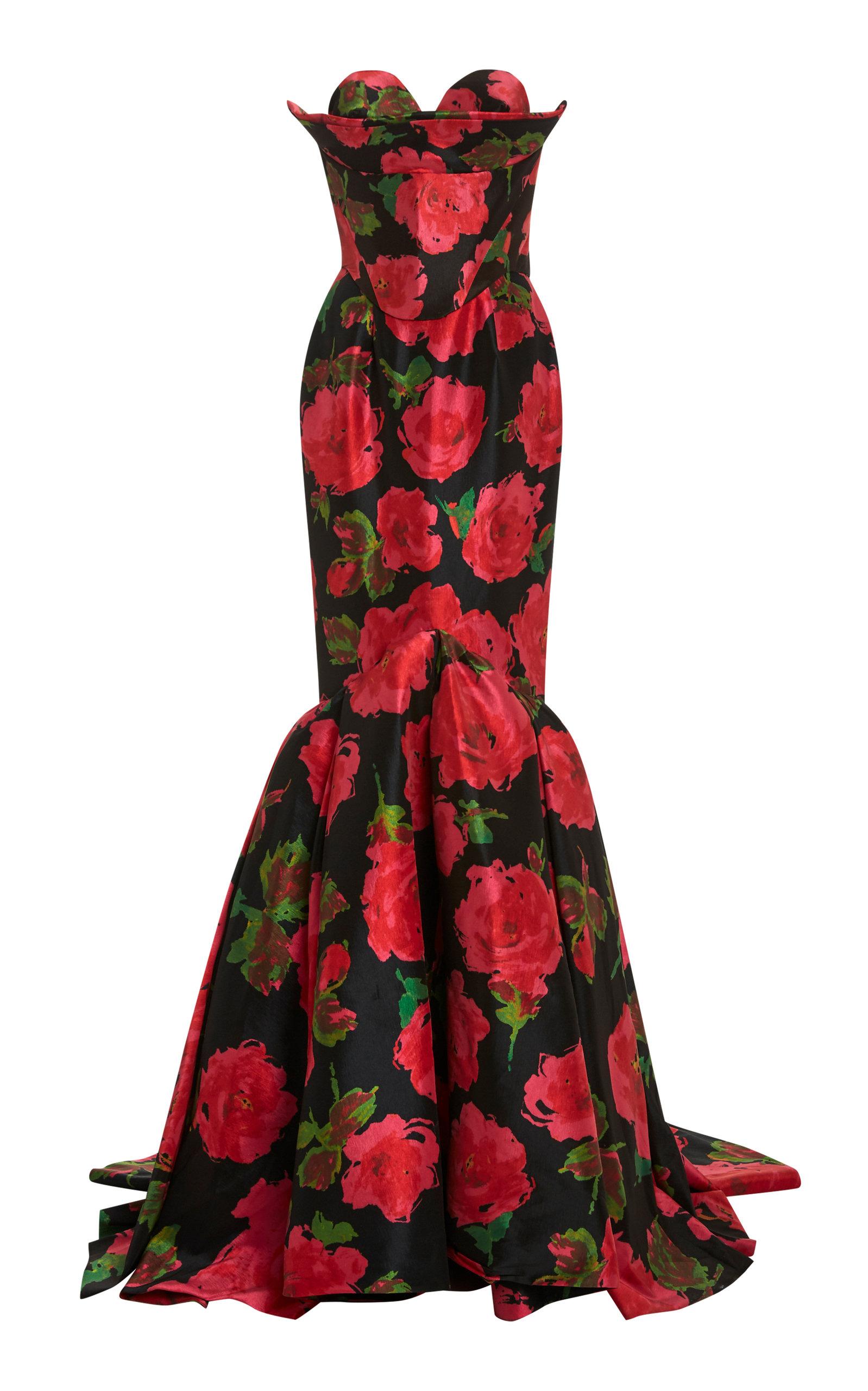 Buy Richard Quinn Floral-Print Taffeta Gown online, shop Richard Quinn at the best price