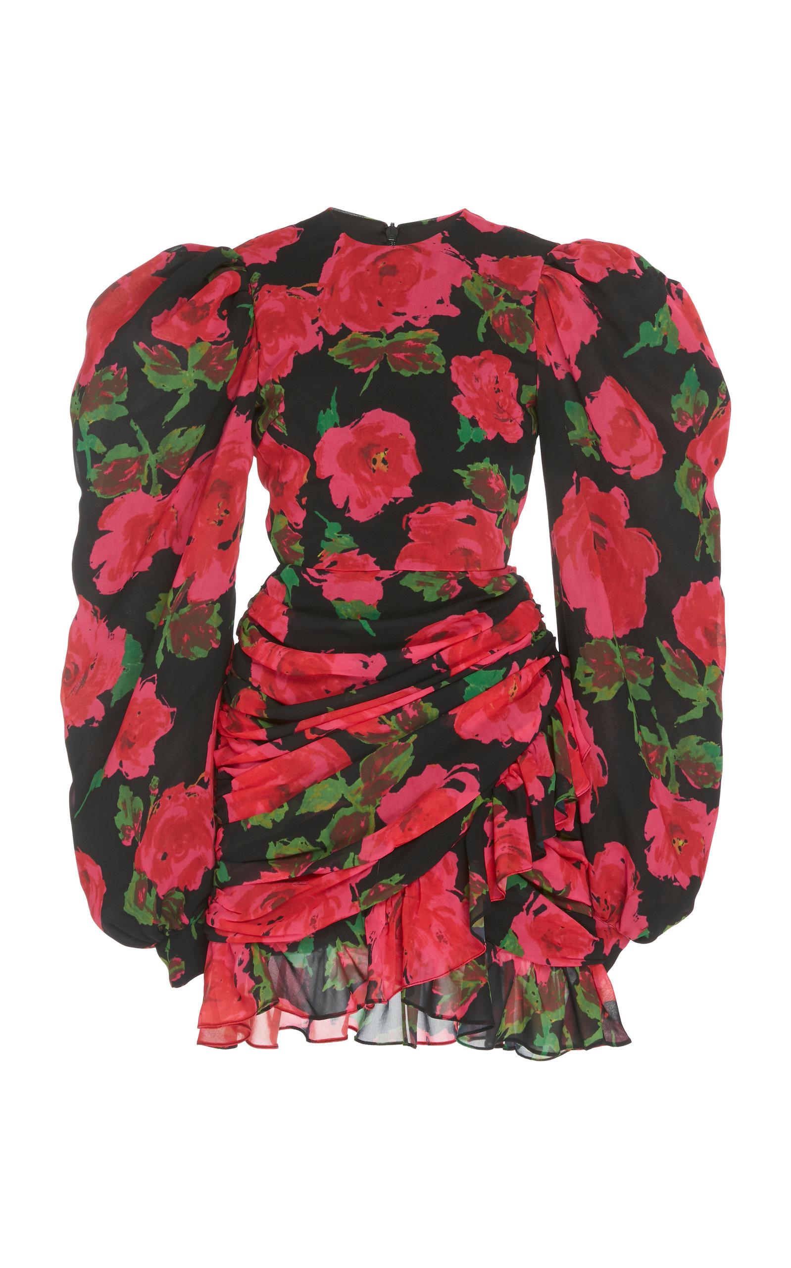 Buy Richard Quinn Ruched Floral-Print Chiffon Dress online, shop Richard Quinn at the best price