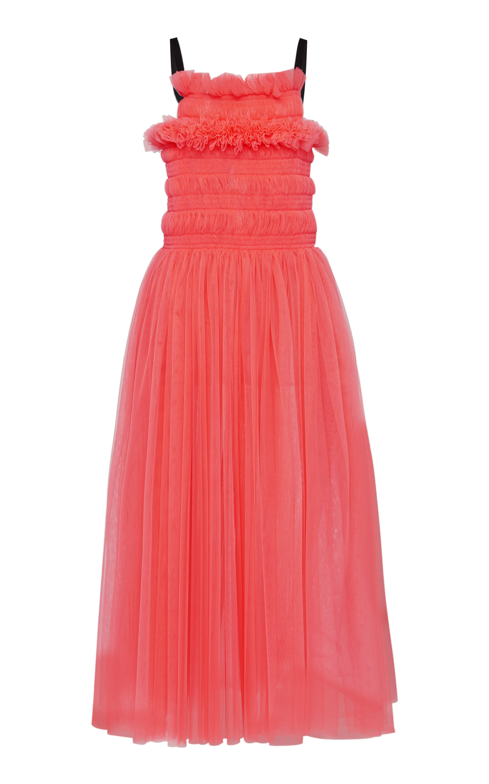 Buy Molly Goddard Shelly Tie-Back Smocked Tulle Midi Dress online, shop Molly Goddard at the best price