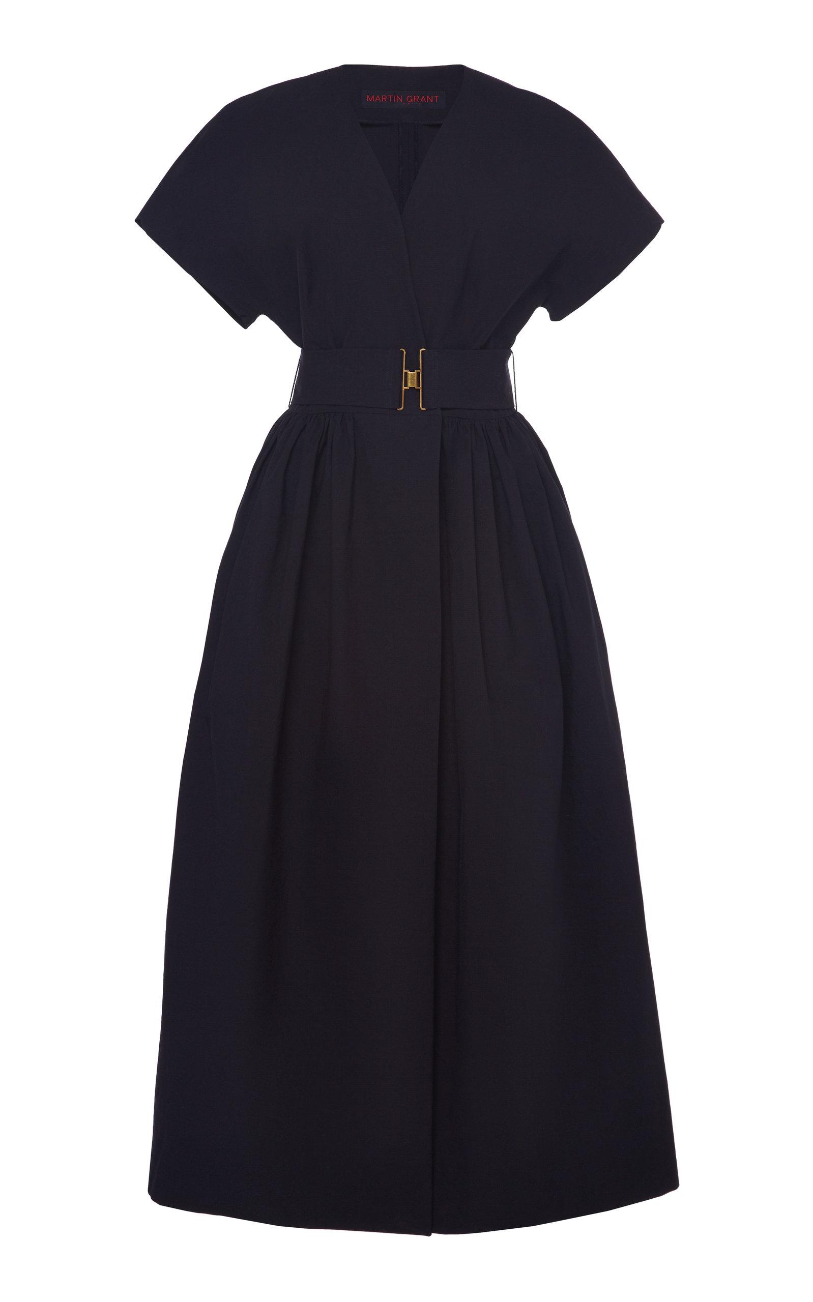 Buy Martin Grant Belted V-Neck Cotton Dress online, shop Martin Grant at the best price