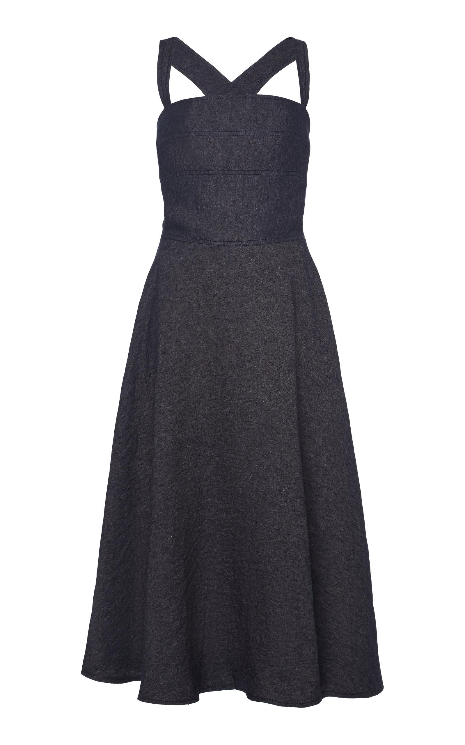 Buy Martin Grant Criss-Cross Flared Linen Midi Dress online, shop Martin Grant at the best price
