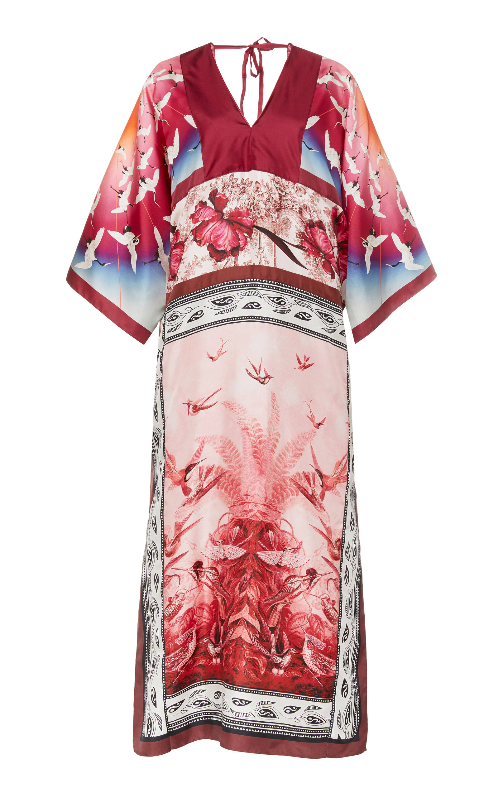 Buy For Restless Sleepers Calliope Open-Back Bird-Print Silk Gown online, shop For Restless Sleepers at the best price