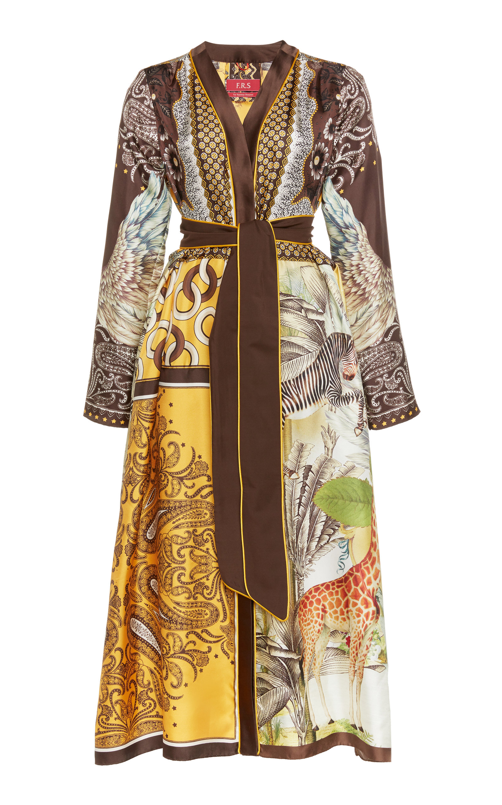 Buy For Restless Sleepers Dafne Mixed-Print Silk Midi Dress online, shop For Restless Sleepers at the best price