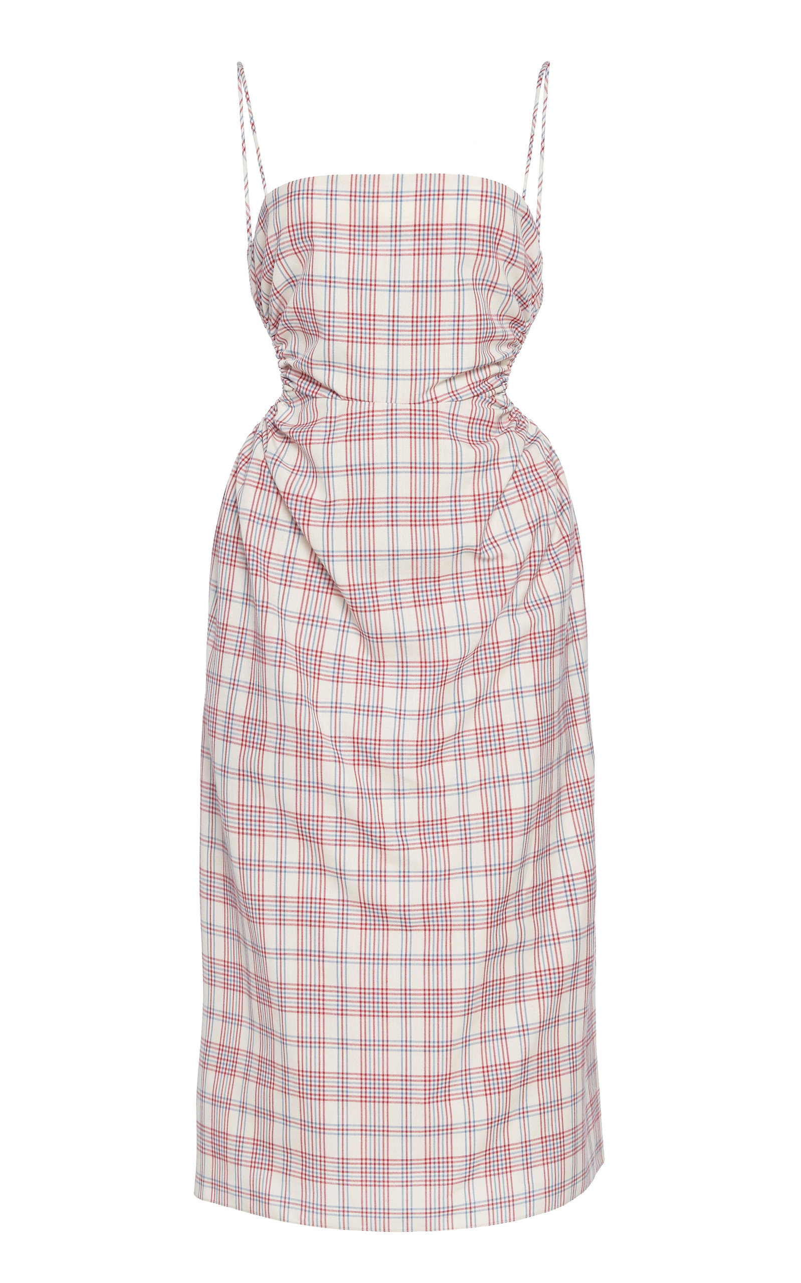 Buy Rokh Checked Ruched Poplin Midi Dress online, shop Rokh at the best price
