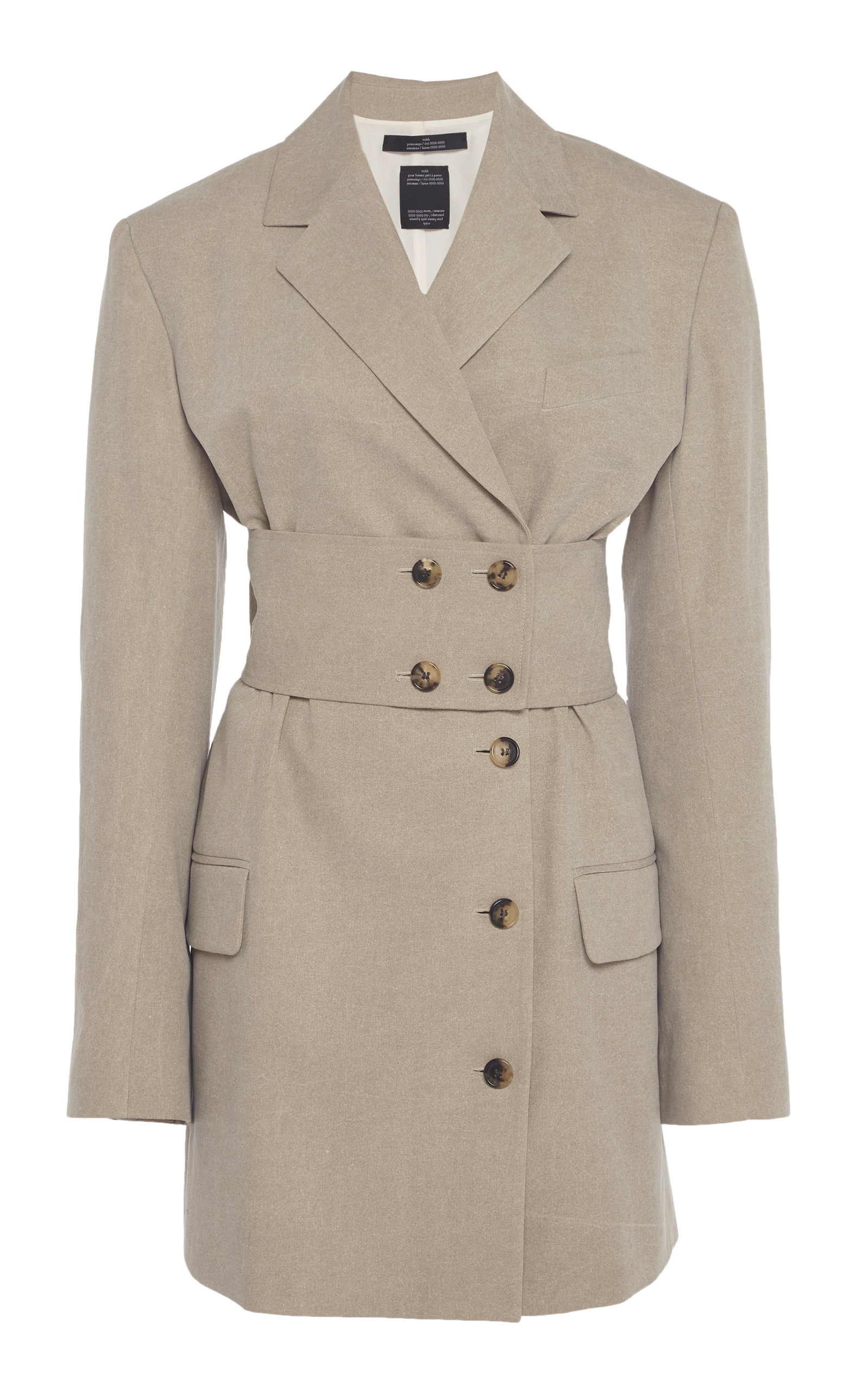 Buy Rokh Belted Long Cady Blazer Dress online, shop Rokh at the best price