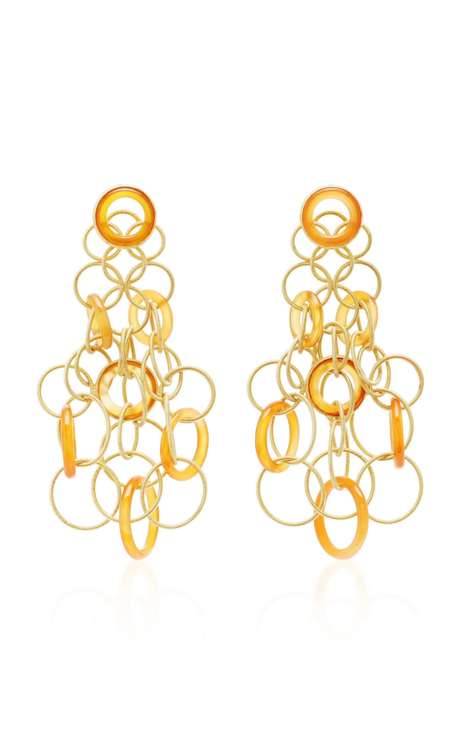 Women's Hawaii 18K Gold And Carnelian Earrings