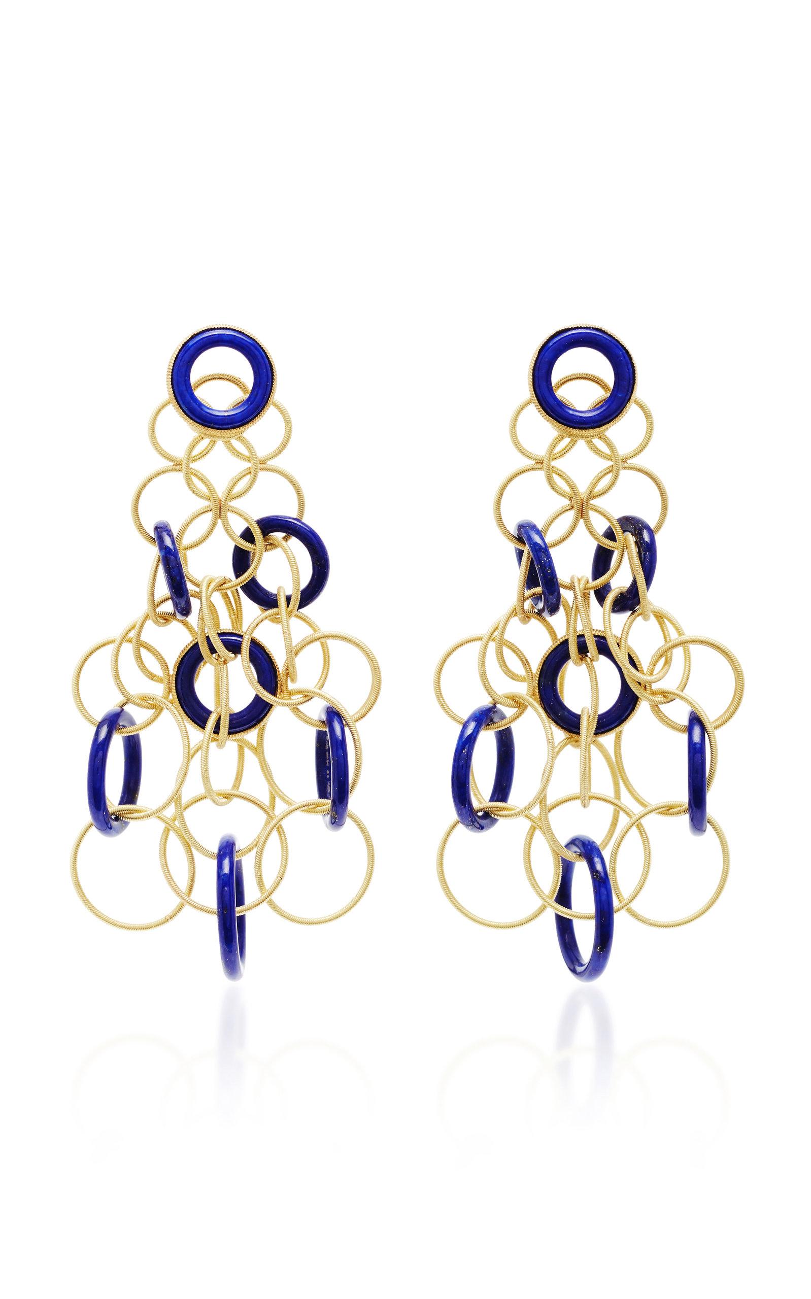 Women's Hawaii 18K Gold And Lapis Earrings