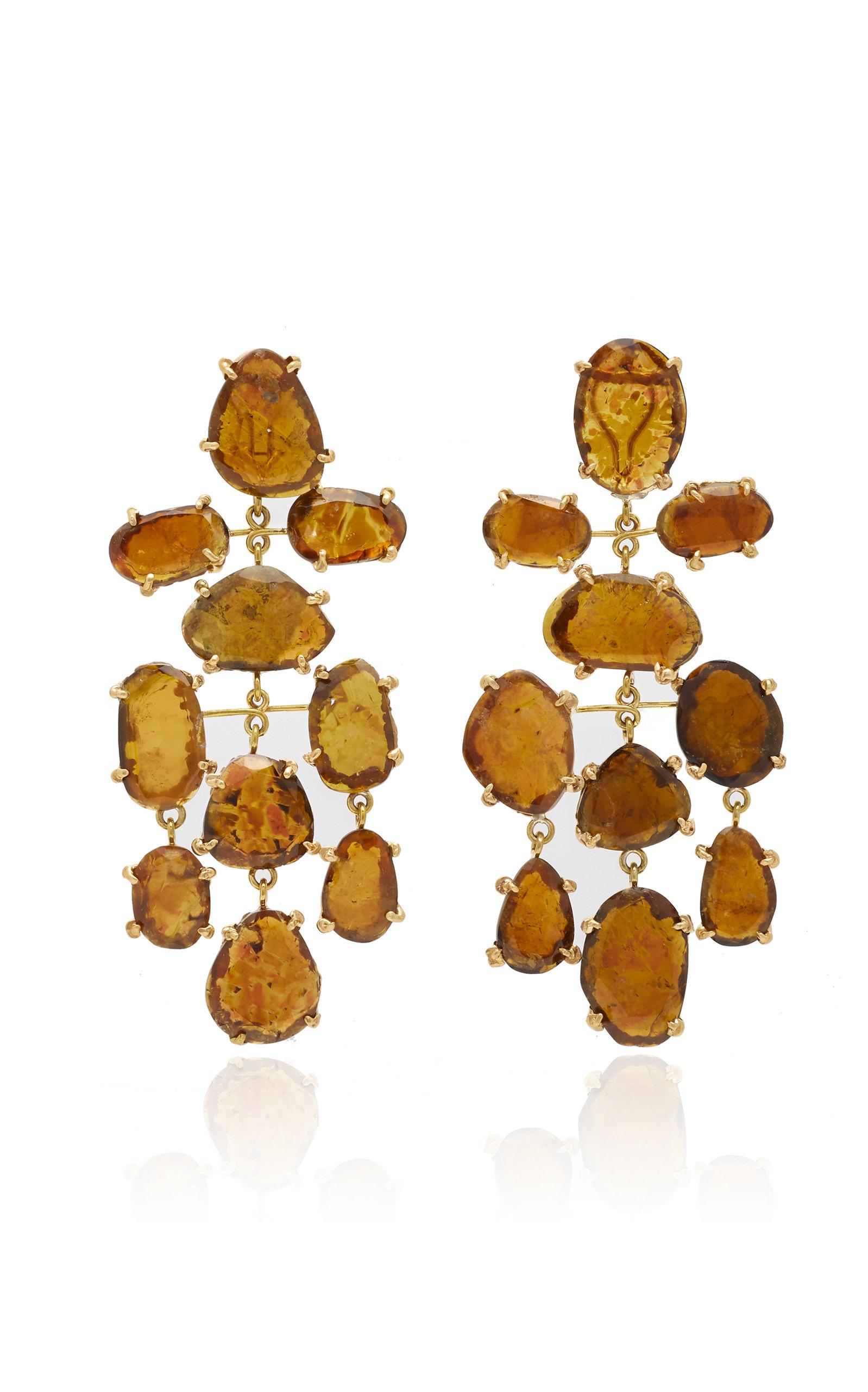 Women's Brown Tourmaline Asteroid Earrings