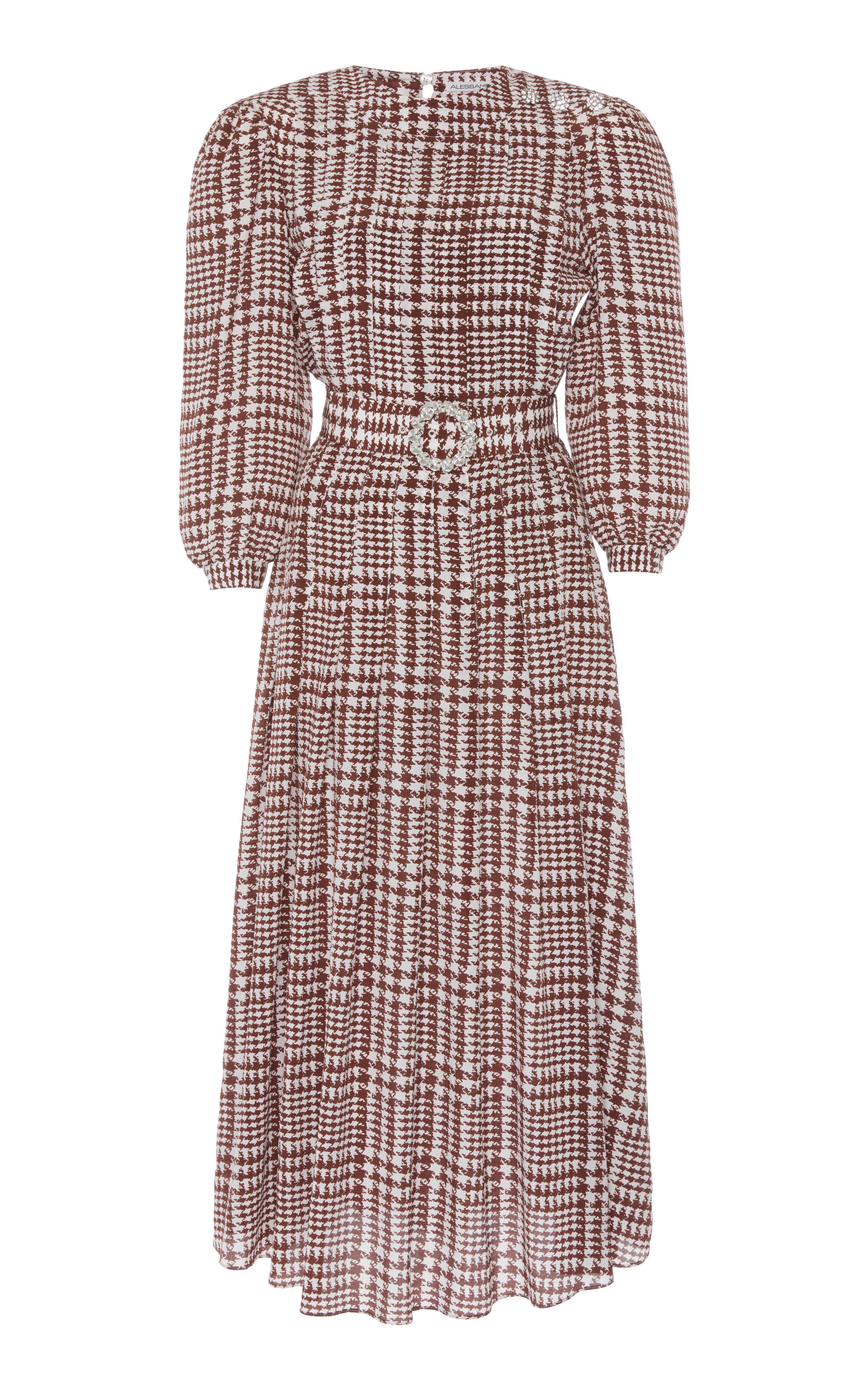 Buy Alessandra Rich Houndstooth Belted Pleated Silk Midi Dress online, shop Alessandra Rich at the best price