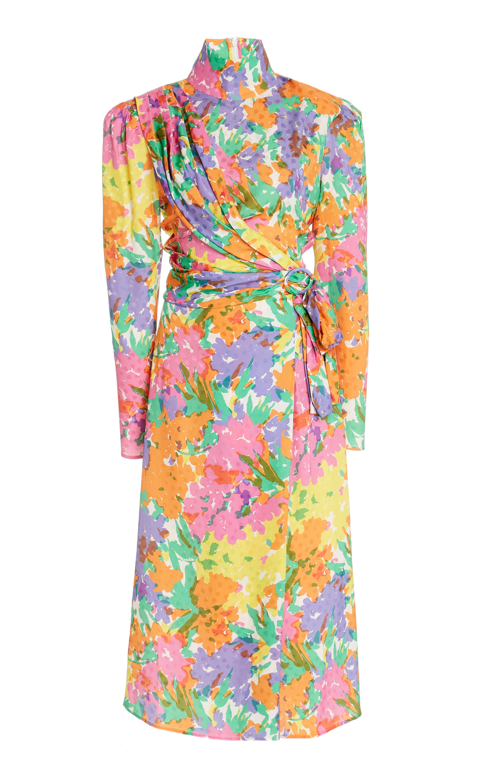 Buy Alessandra Rich Floral-Print Draped Silk Jacquard Dress online, shop Alessandra Rich at the best price